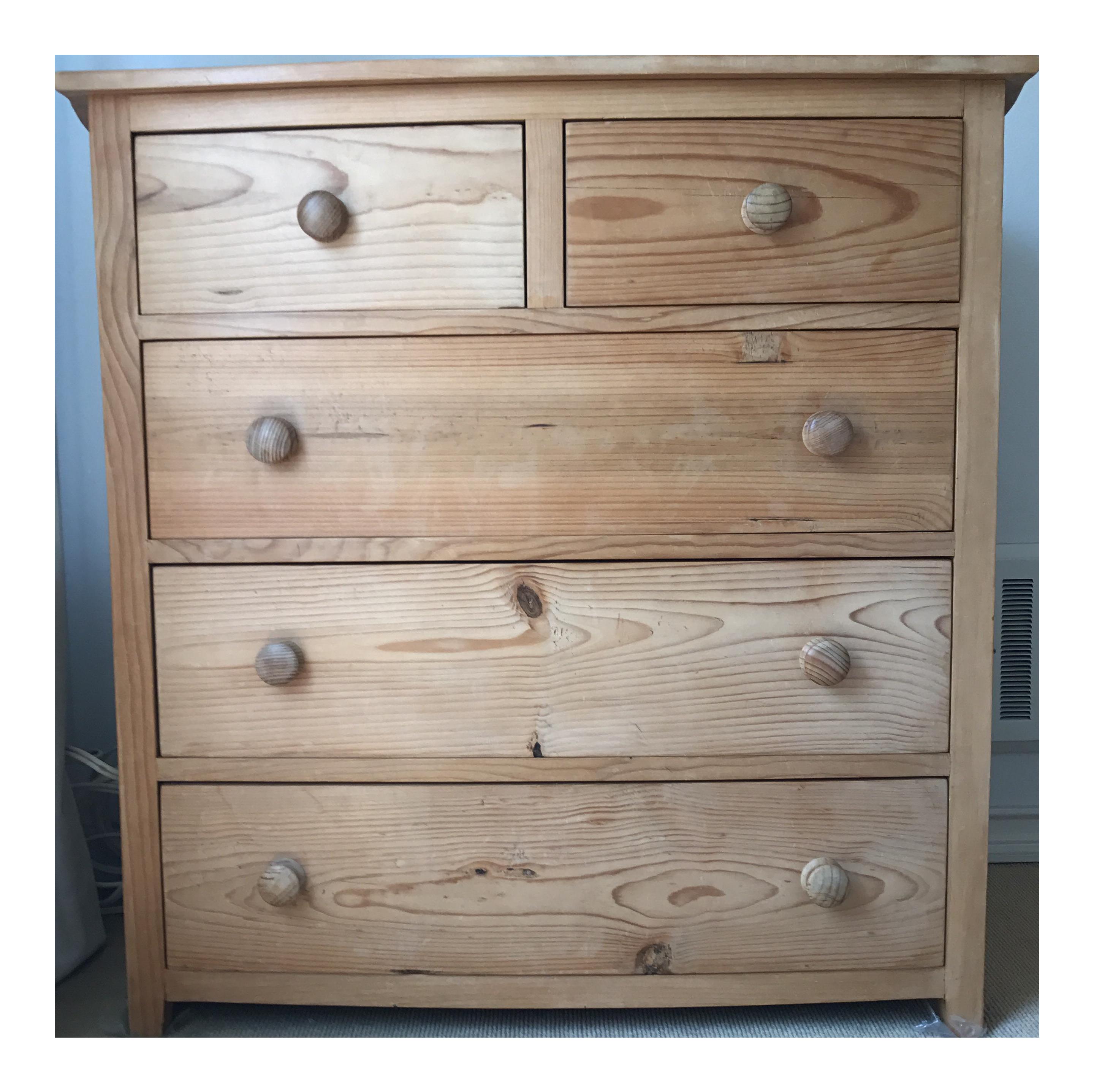 unfinished pine 5 drawer dresser chairish