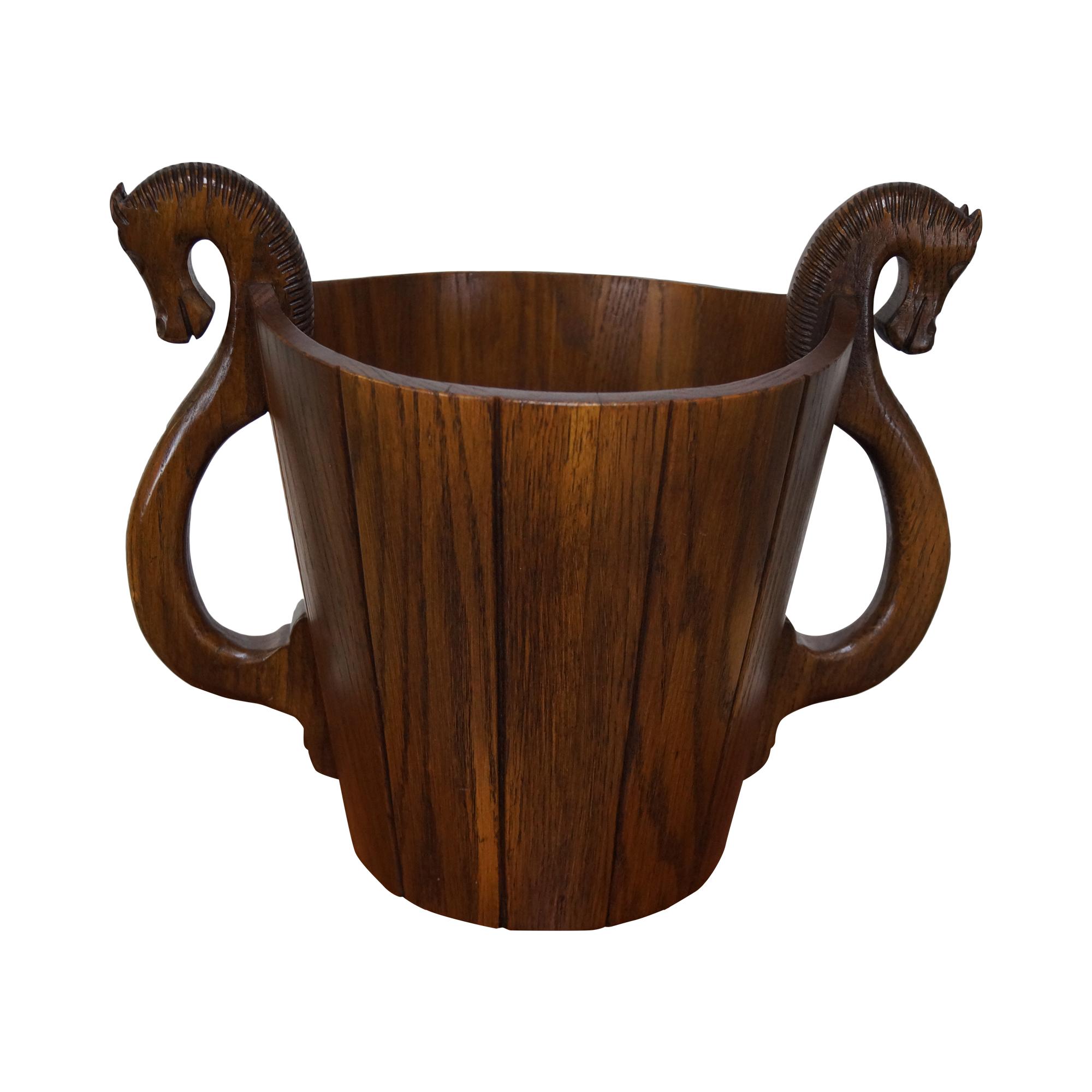 Romweber viking oak horsehead waste basket chairish