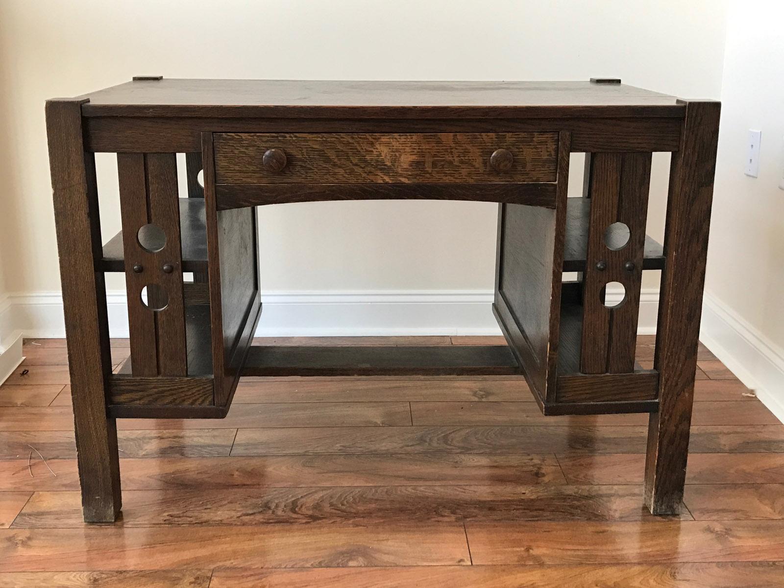 Arts crafts desk - Image Of Antique Mission Oak Arts And Crafts Library Desk With Shelves
