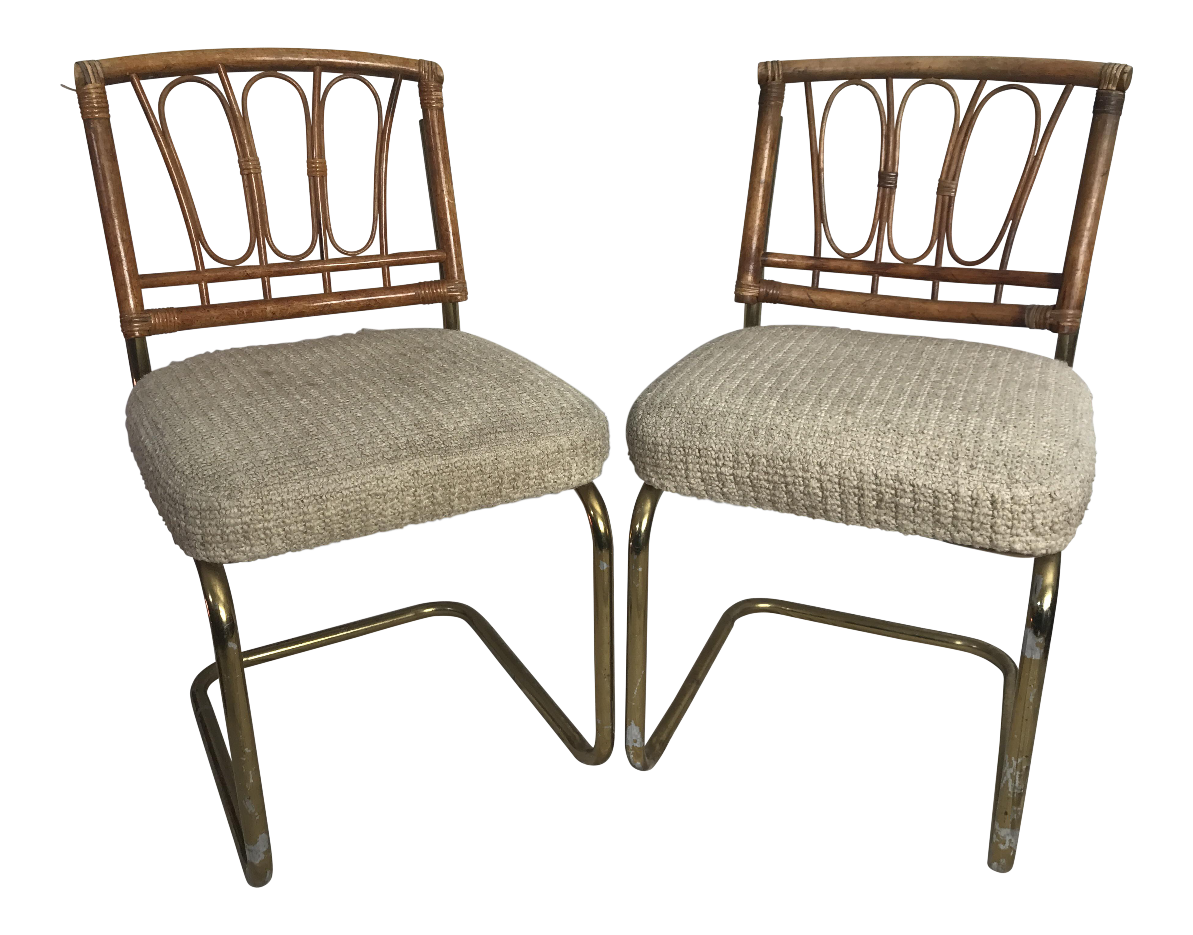 Douglas Furniture Chrome Cantilever Bamboo Chenille Seats A Pair