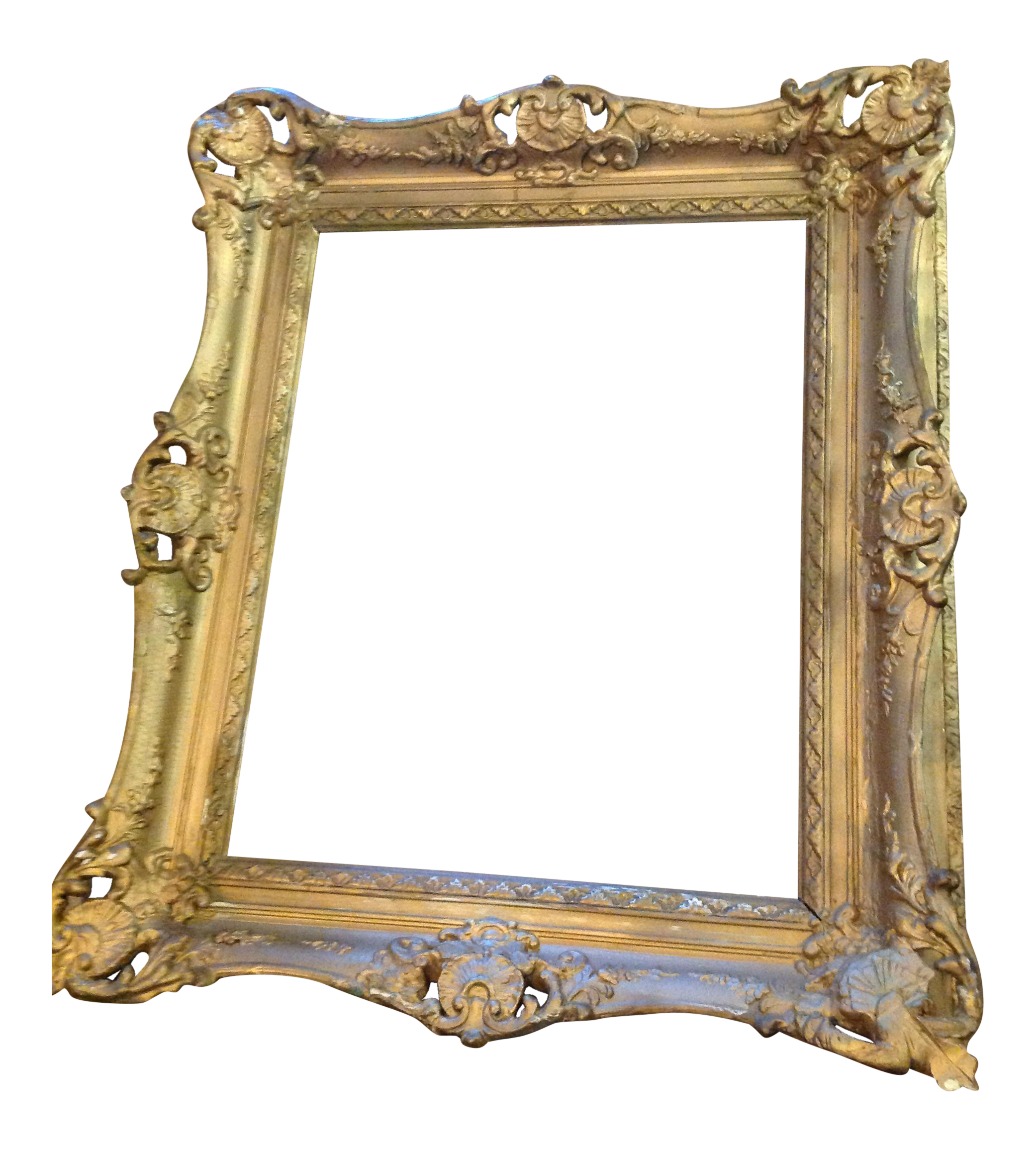 Antique wood hollywood regency large frame victorian white for Large a frame
