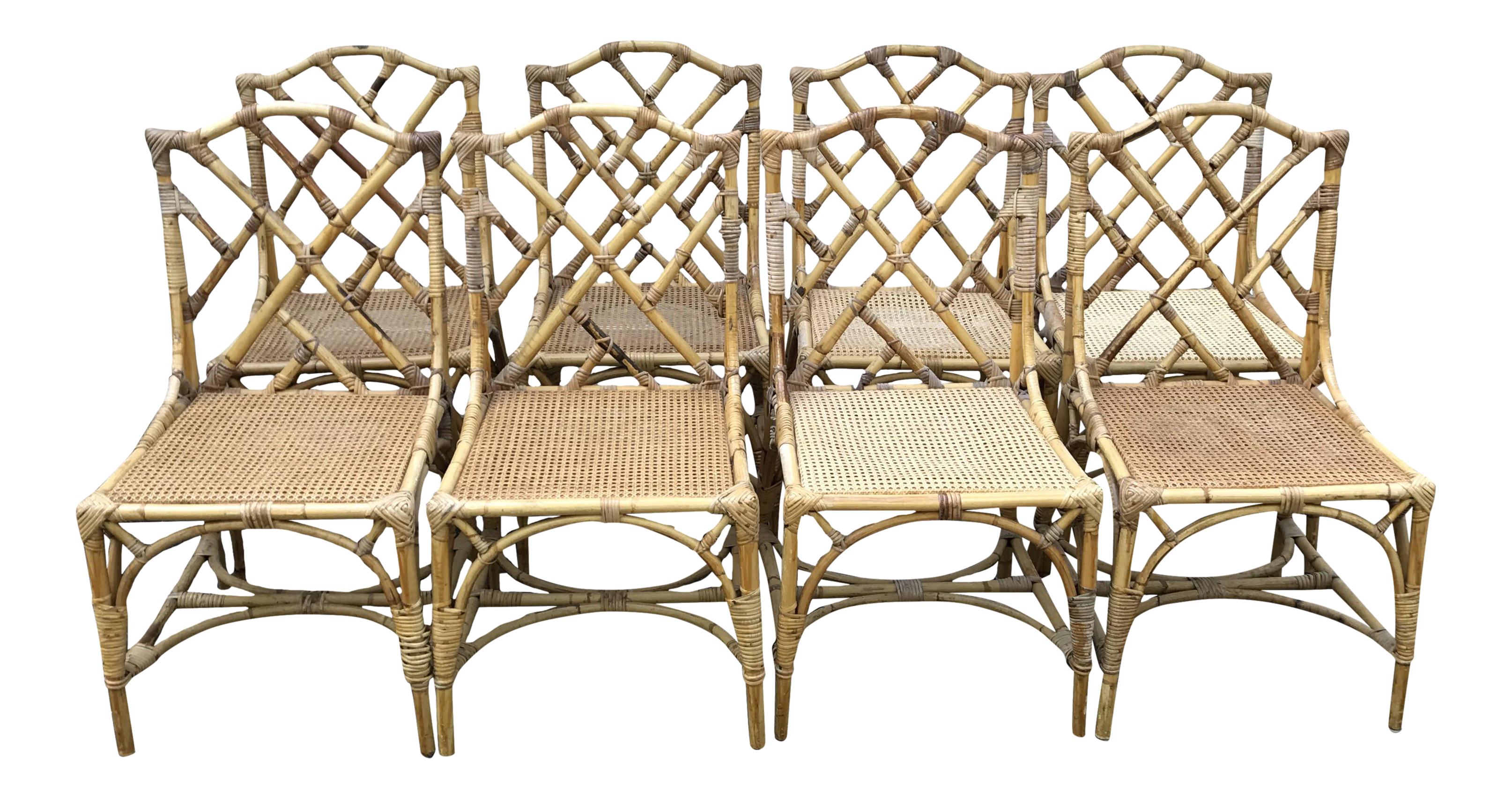 Chinese Chippendale Rattan Dining Chairs Set of 8