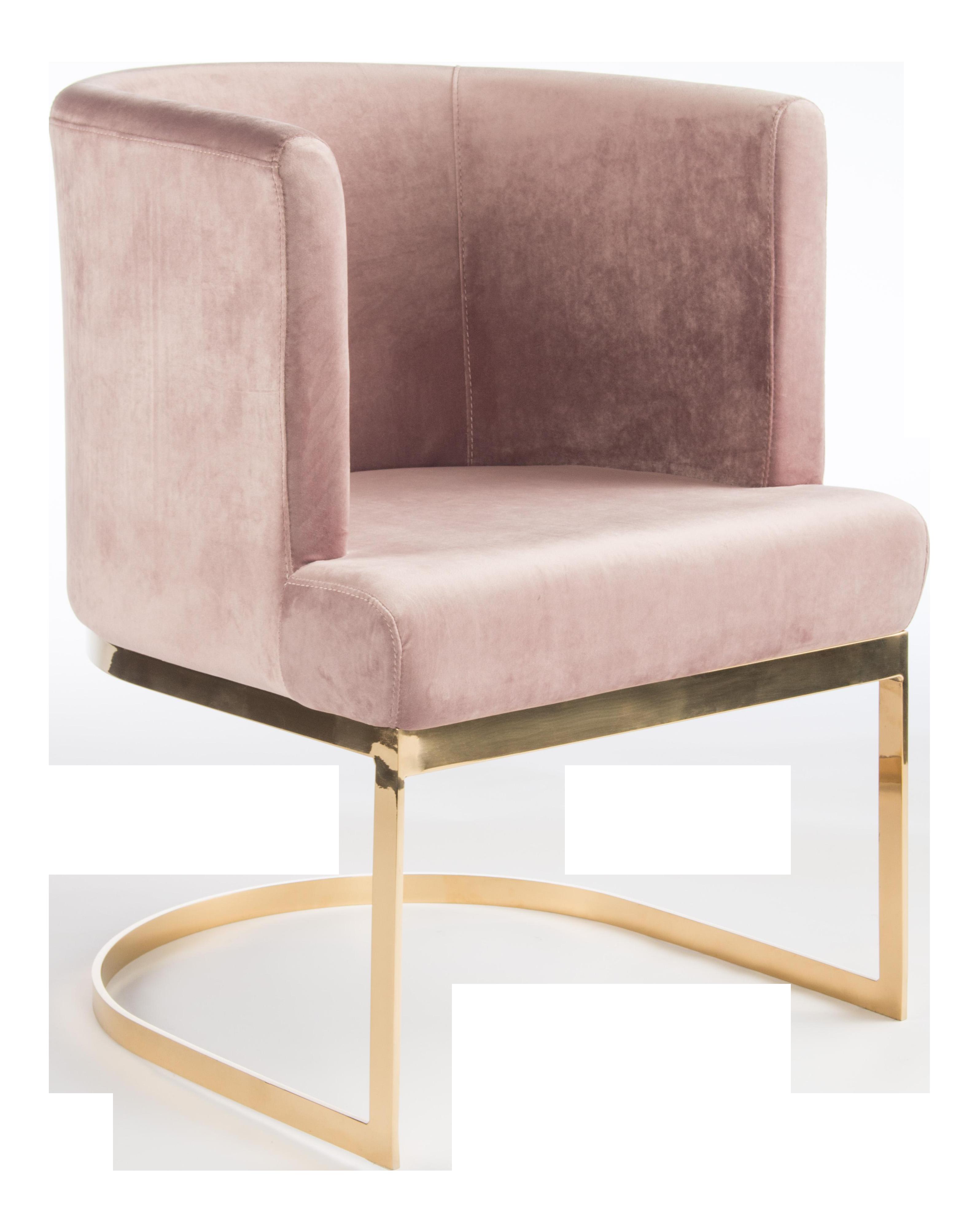 Modern Blush Velvet & Gold Circular Accent Chair Set of 6