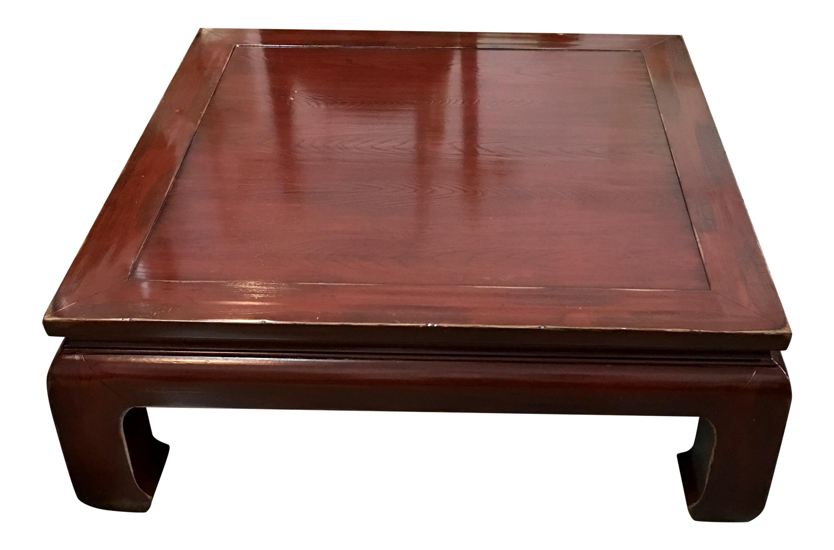 ethan allen ming style cherry veneer coffee table | chairish