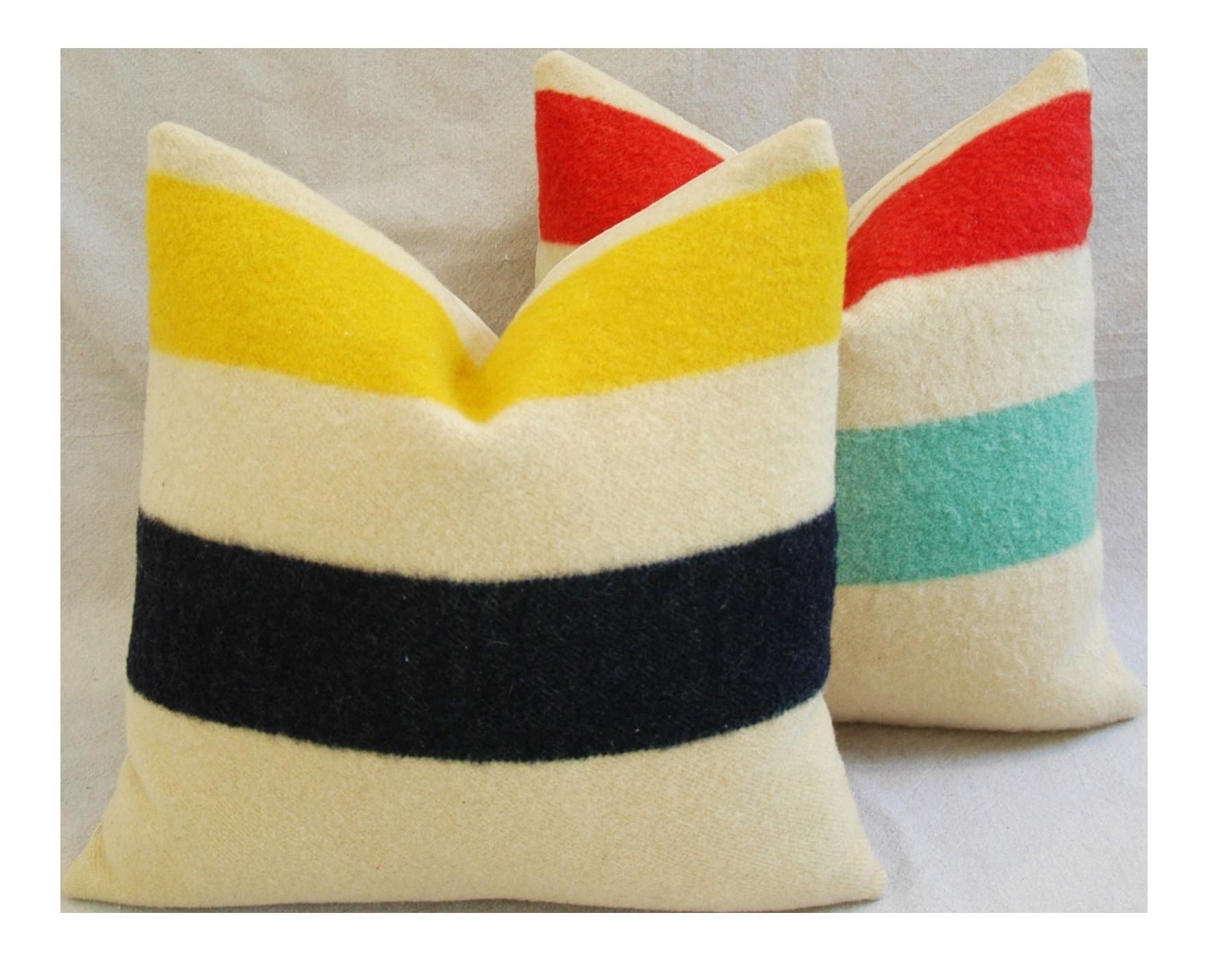 Decorative Pillows Hudson Bay : Hudson s Bay Multi-Striped Blanket Pillows - Pair Chairish