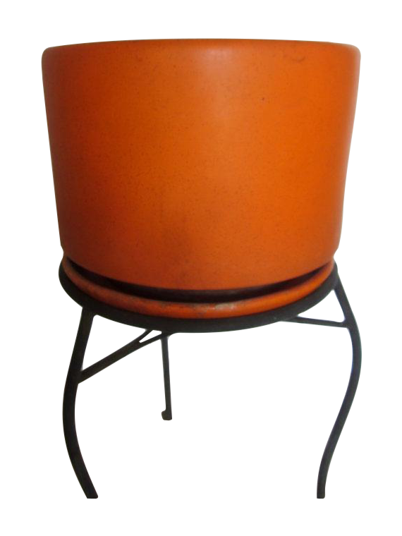 Orange Gainey Ceramic Saucer Pot Chairish
