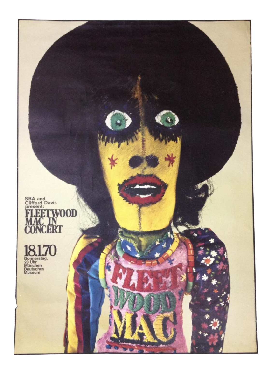 1970 Fleetwood Mac Concert Poster By Gunther Kieser Rare