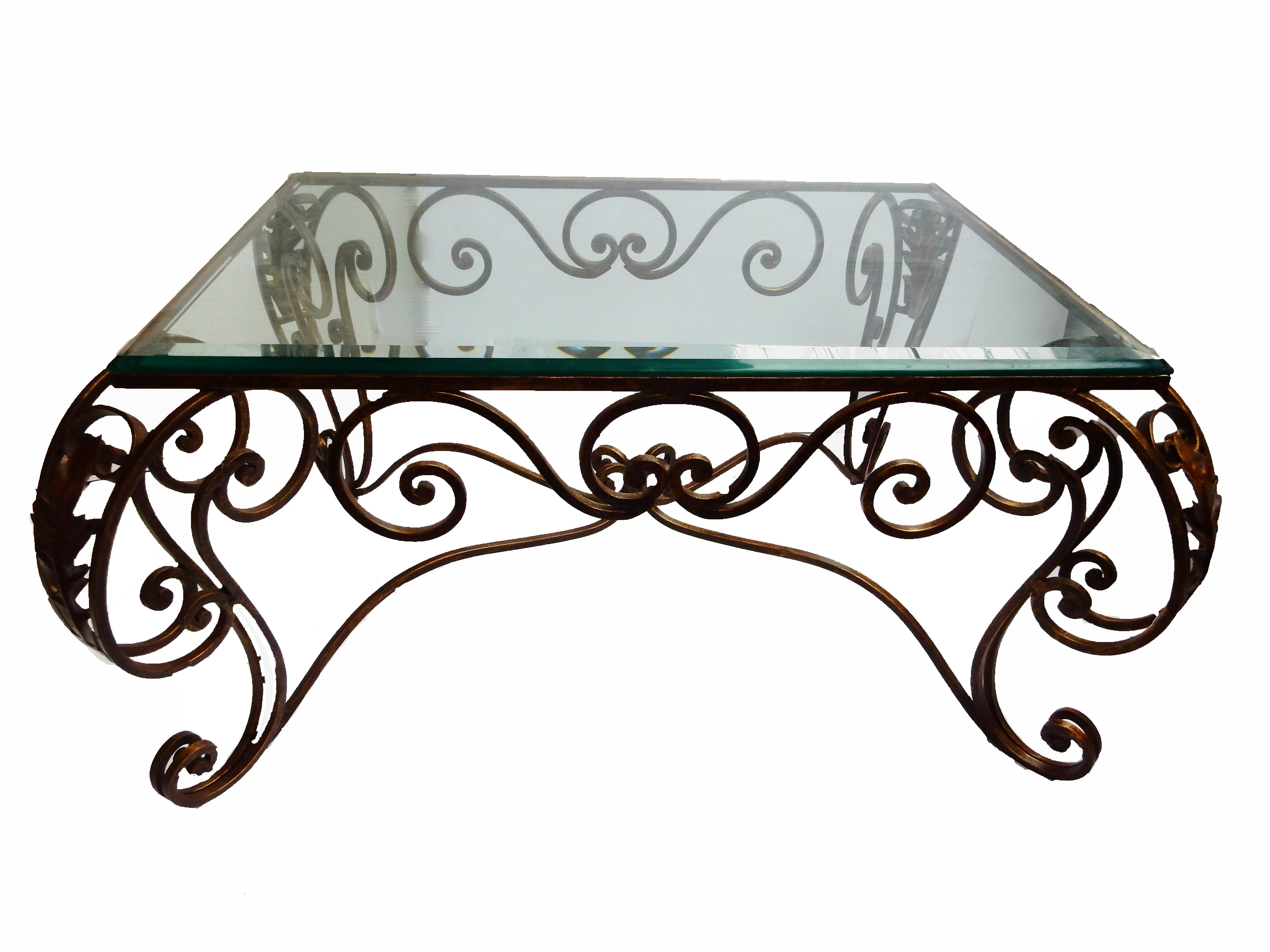French style fer forge coffee table chairish for Table demi lune fer forge