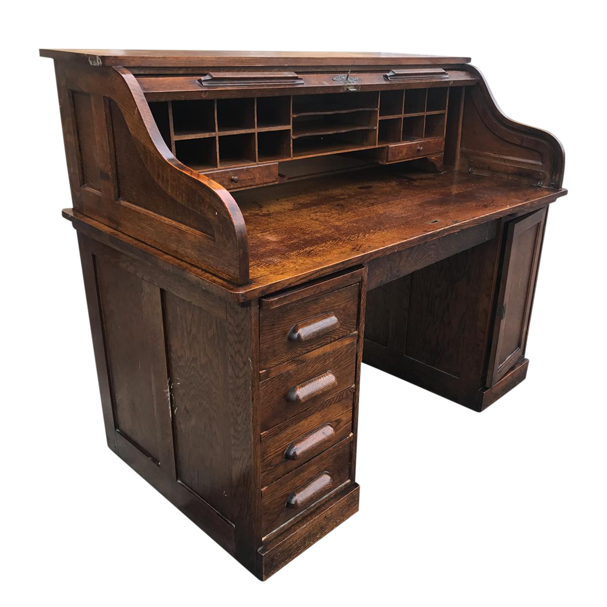 Antique Shelbyville Tiger Oak Roll Top Secretary
