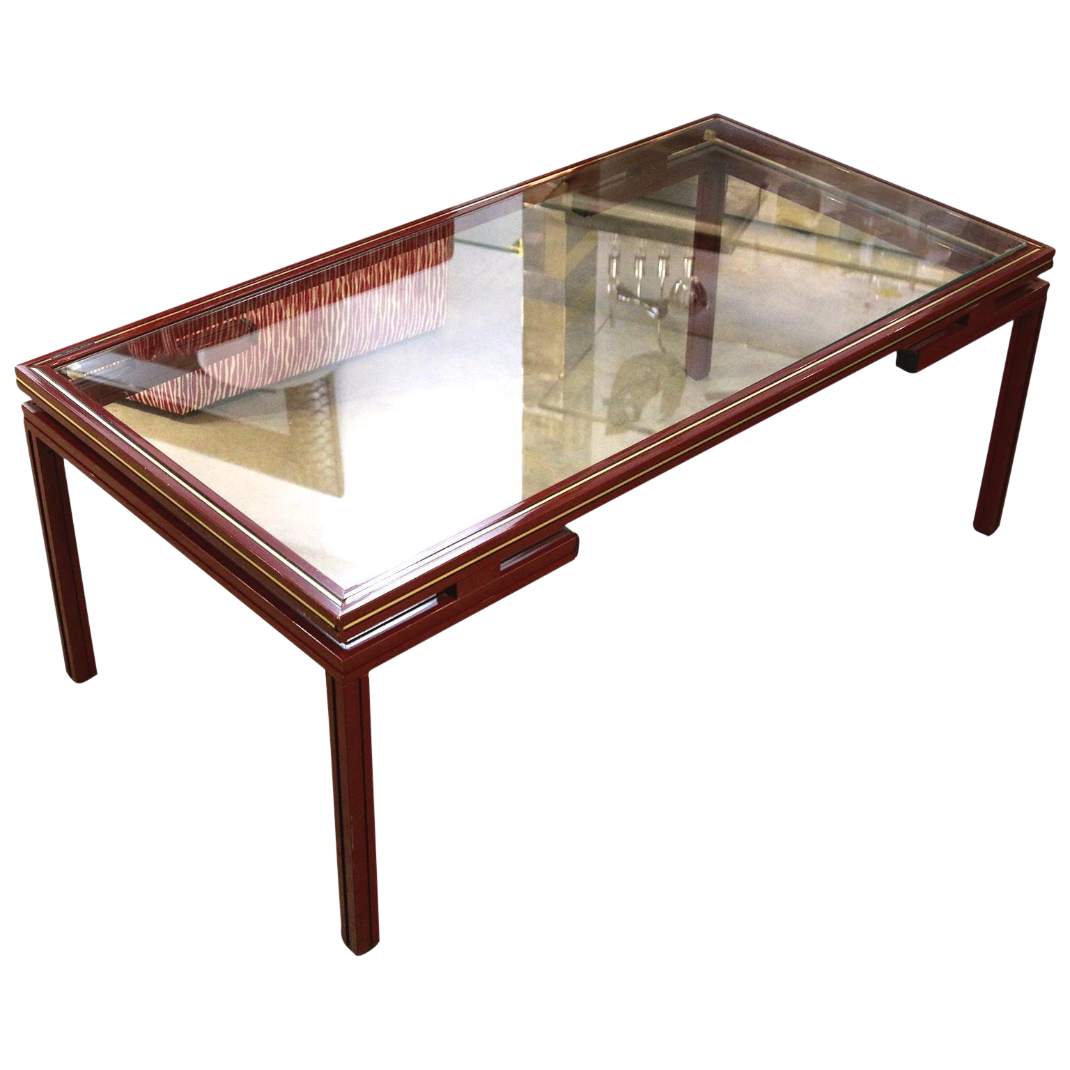Superb Pierre Vandel Lacquered Red with Gold Trim Coffee Table