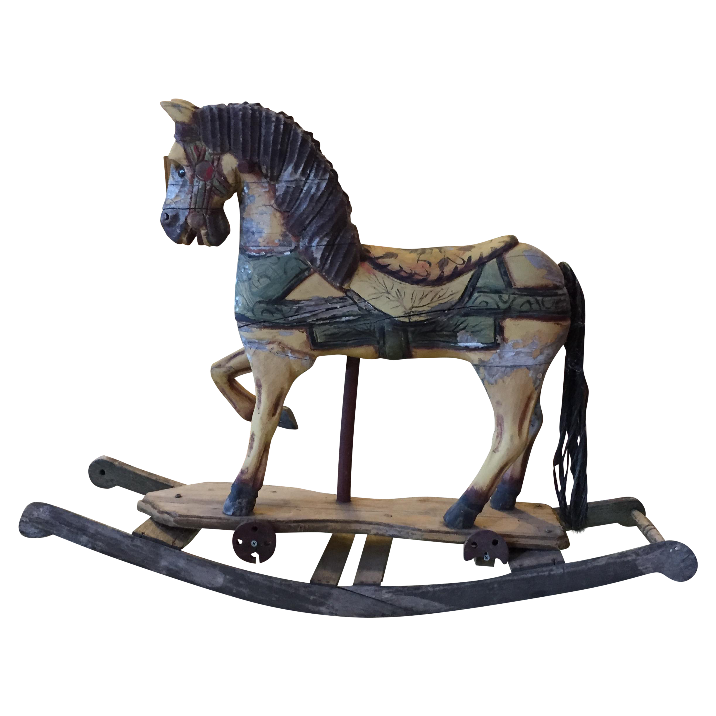 Antique Hand Carved Artisanal Wood Rocking Horse Chairish