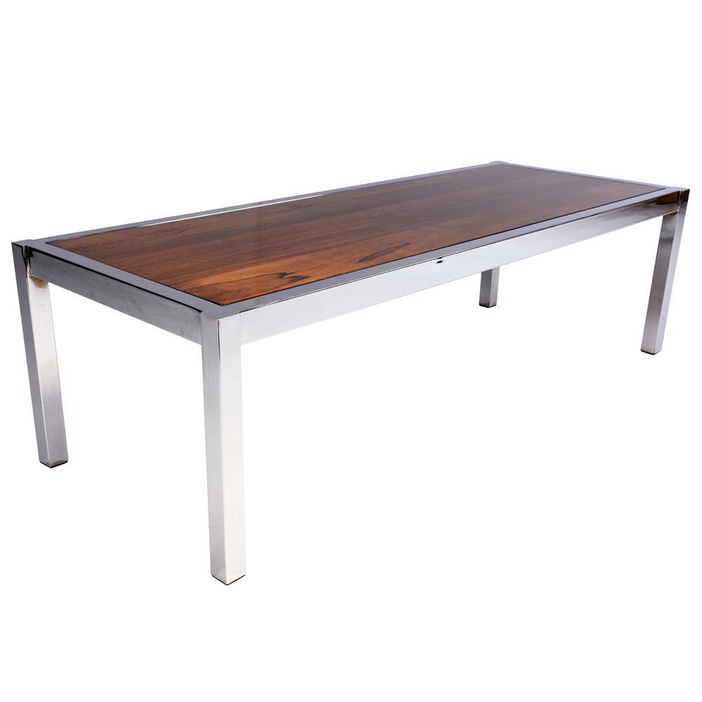 Mid Century Modern Chrome Wood Coffee Table Chairish