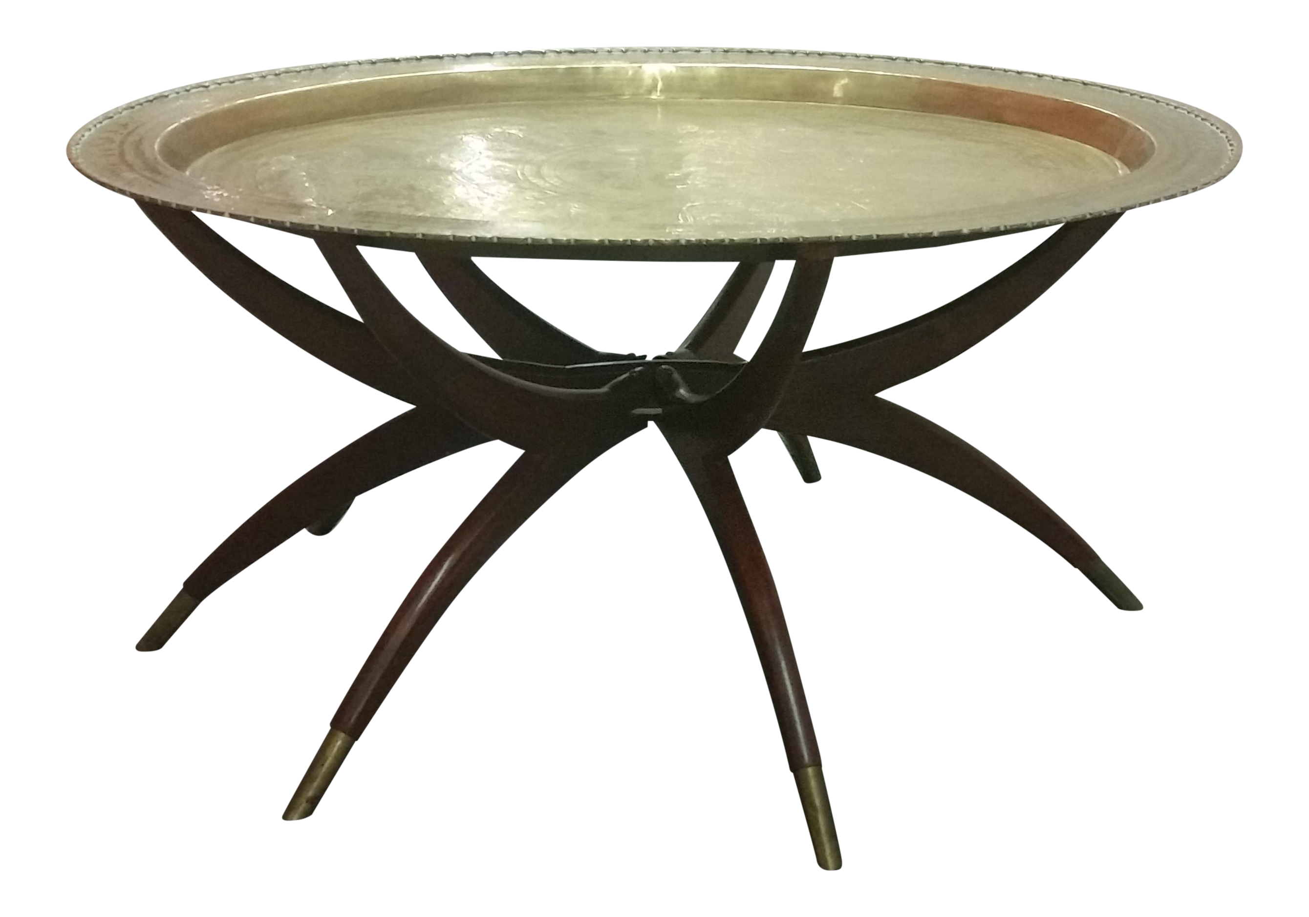 Mid Century Brass Top Moroccan Style Coffee Table
