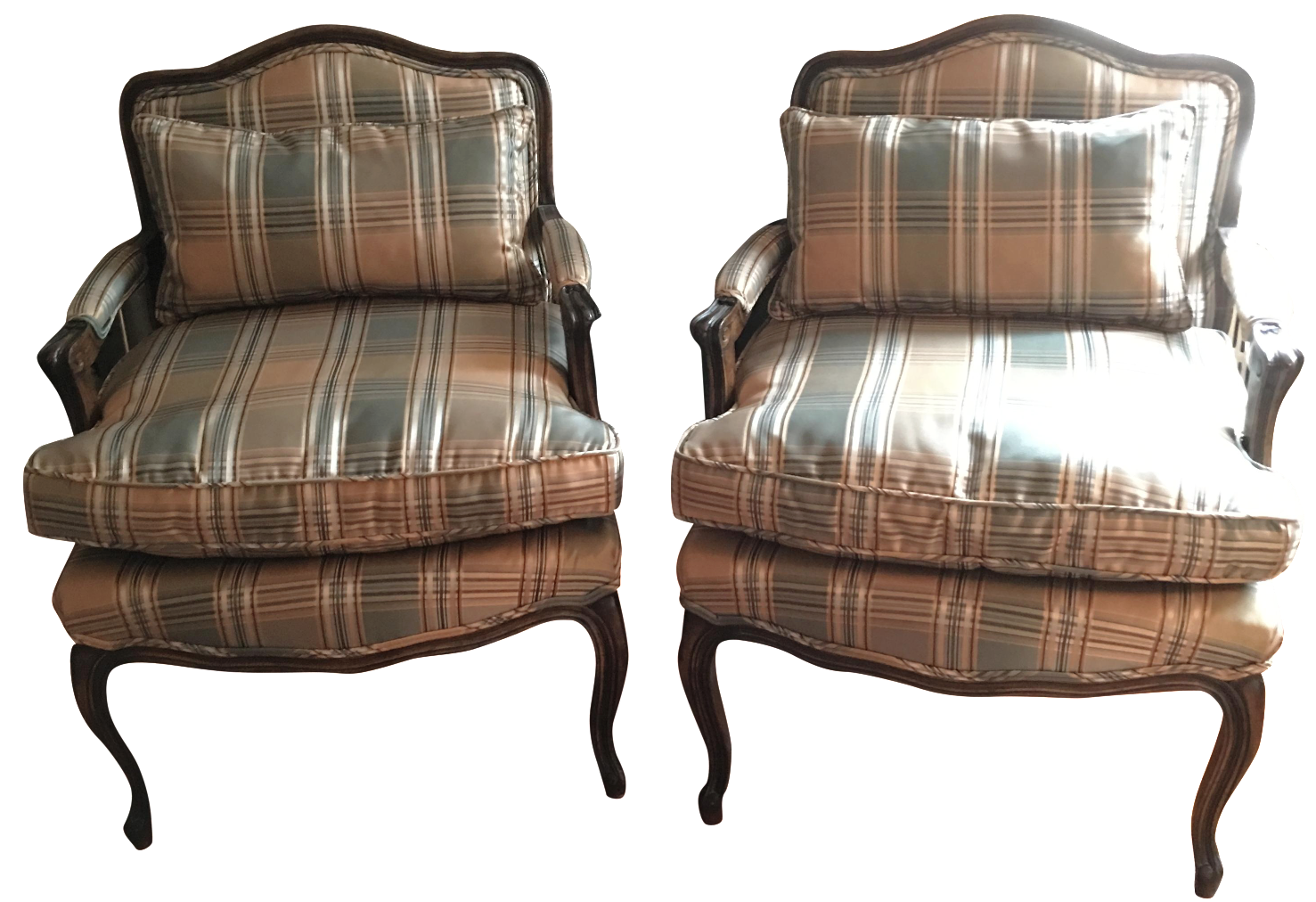 Antique bergere chair - Image Of Hickory Chair Antique Plaid Bergere Chair A Pair