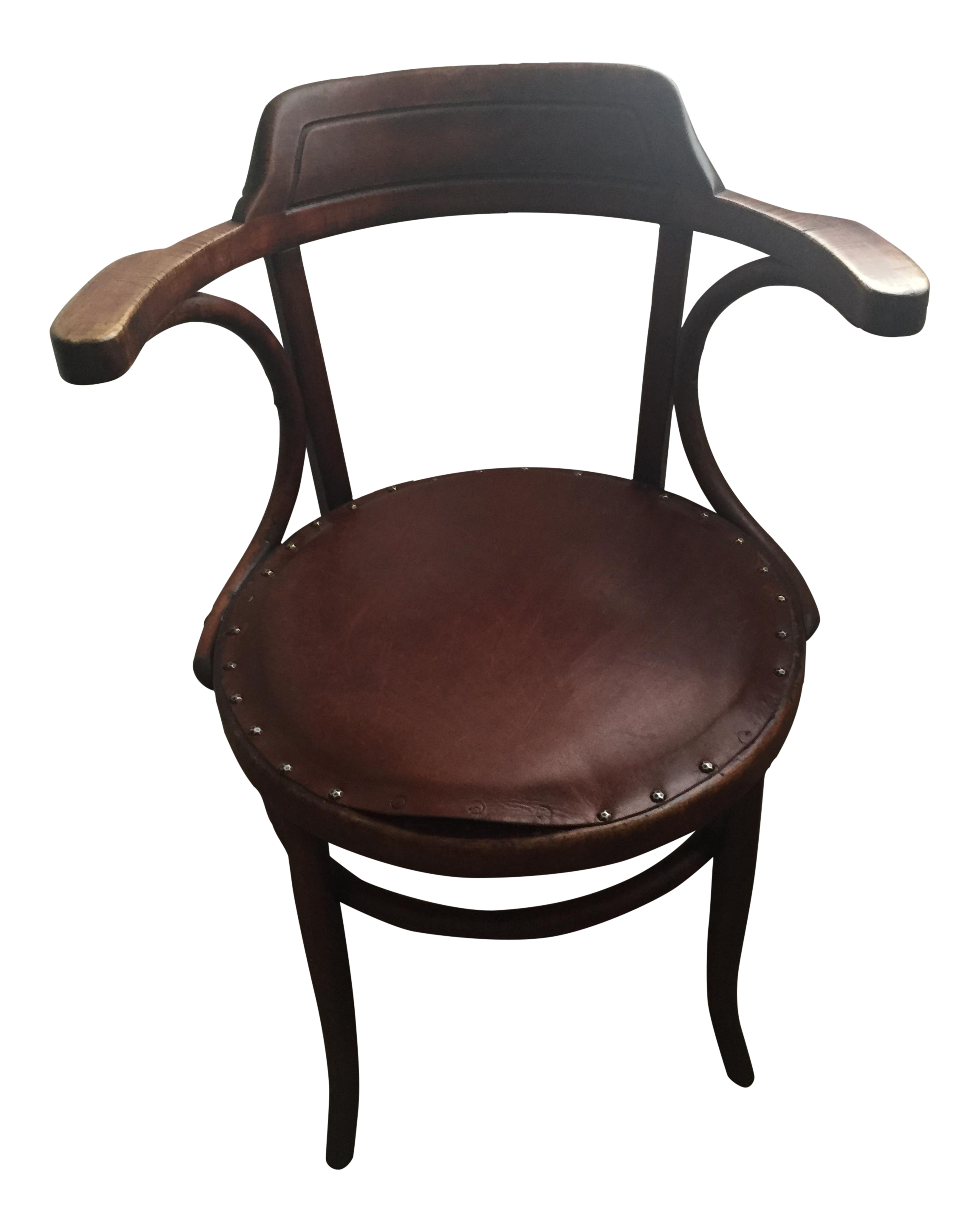 vintage leather upholstered bentwood chair in the style of michael thonet chairish. Black Bedroom Furniture Sets. Home Design Ideas