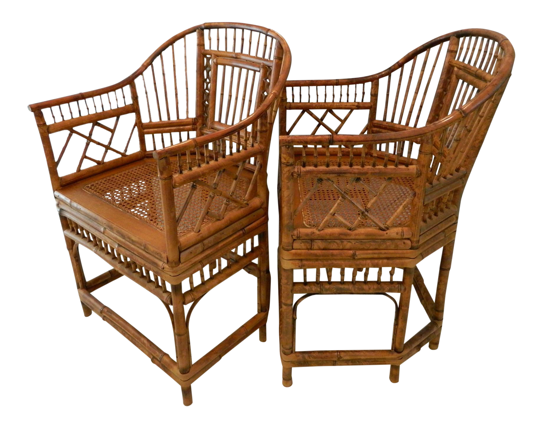 Vintage Brighton Pavilion Style Bamboo Chairs A Pair