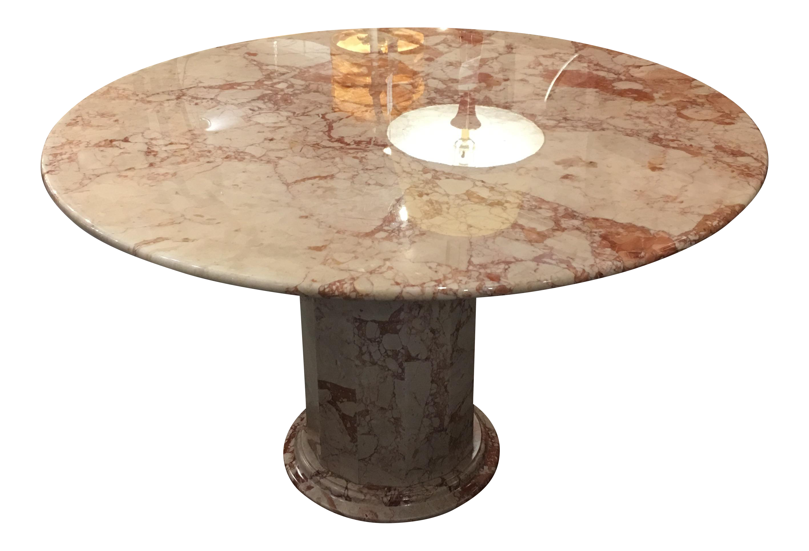 Round Pink & Cream Marble Pedestal Dining Table