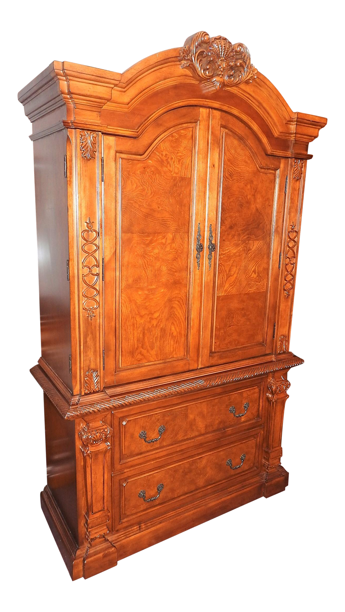 Luxury Cherry Tv Armoire Amp Dresser Set Chairish