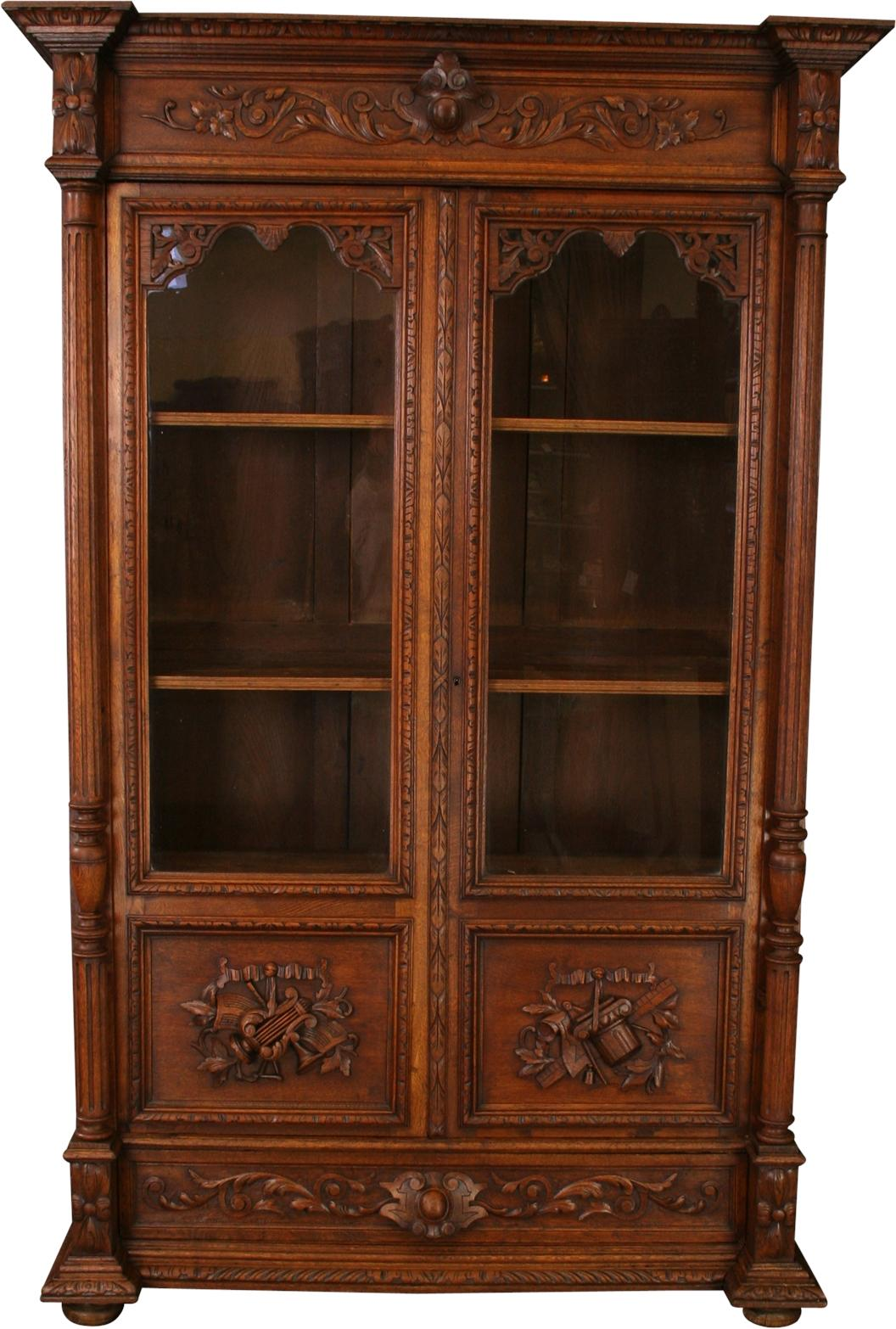 1566 #6C361E 1900s French Renaissance Carved Bookcase Chairish wallpaper 3ft French Doors 46651056