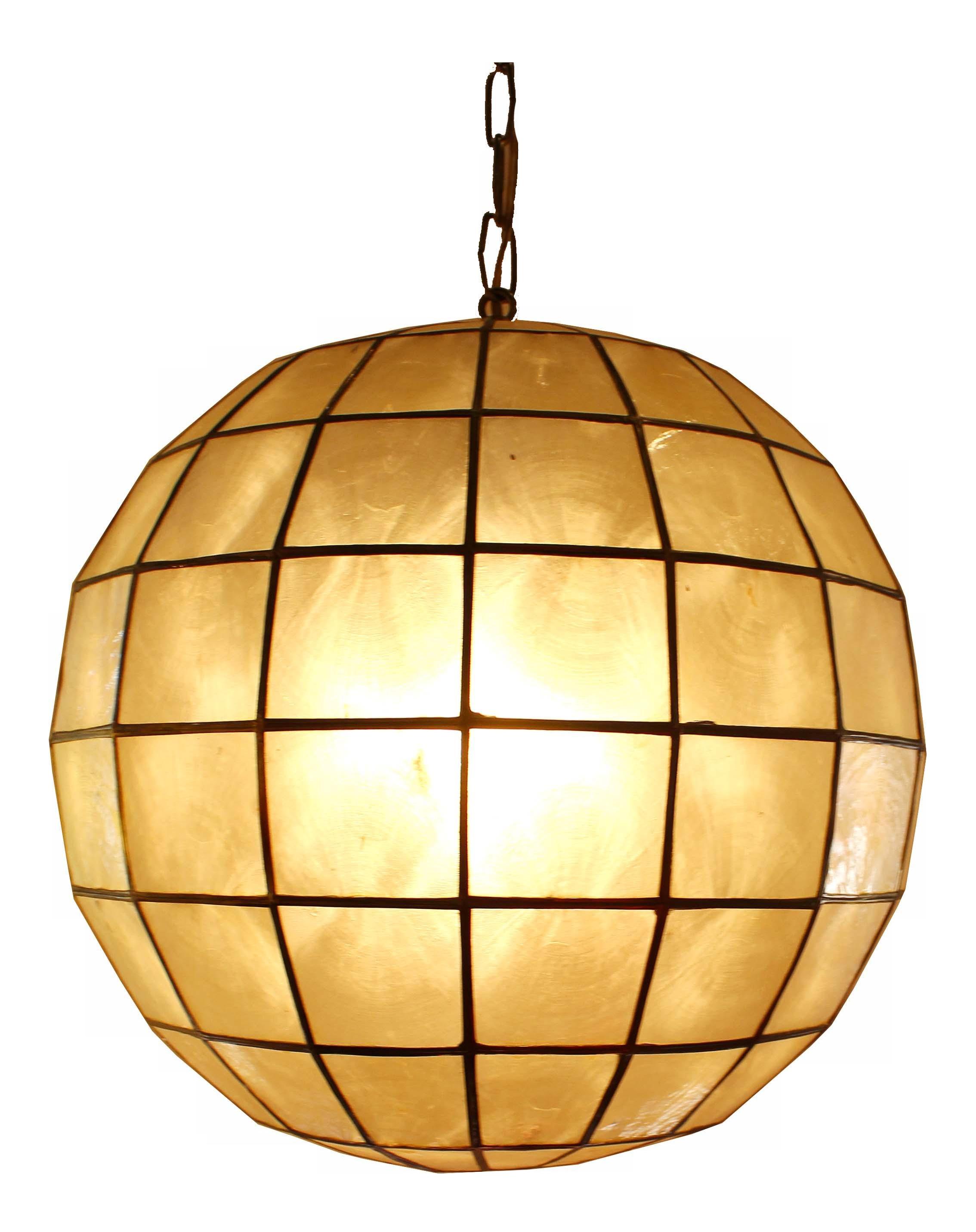 capiz shell globe pendant light chairish. Black Bedroom Furniture Sets. Home Design Ideas