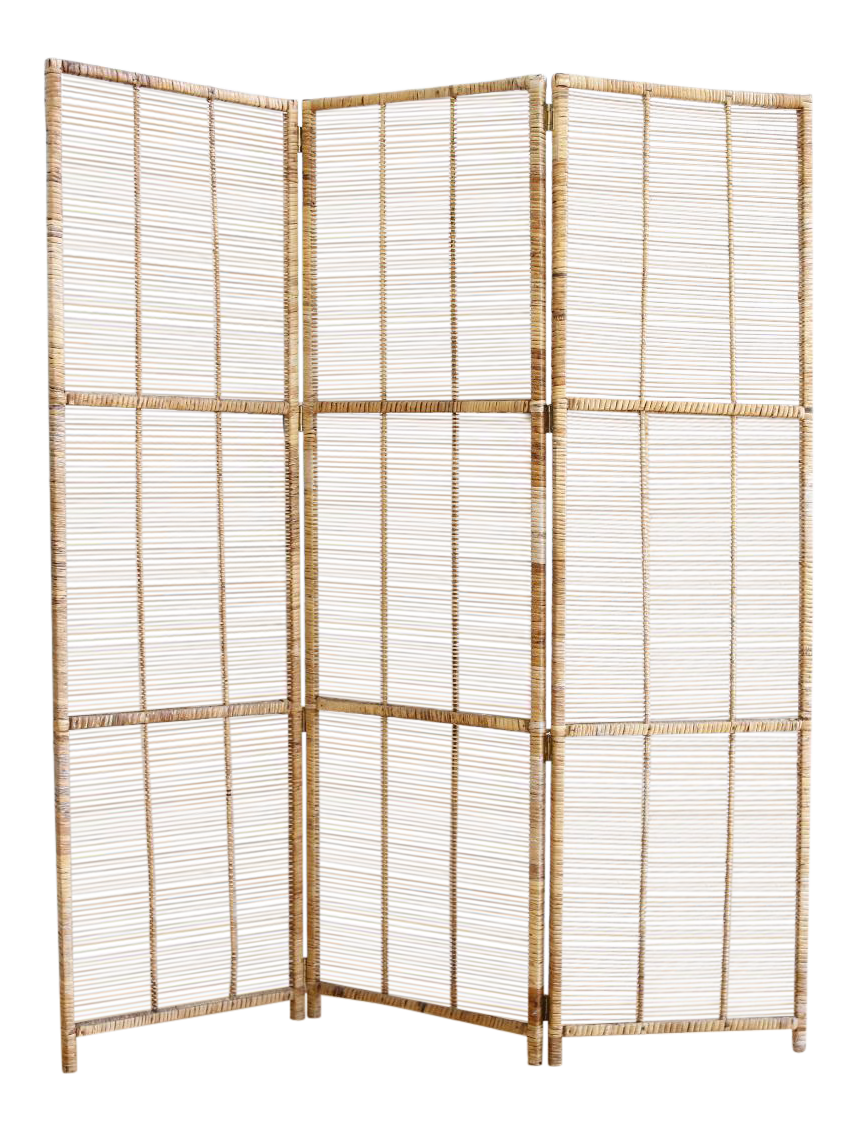 Vintage Bamboo Amp Rattan Folding Screen Room Divider Chairish