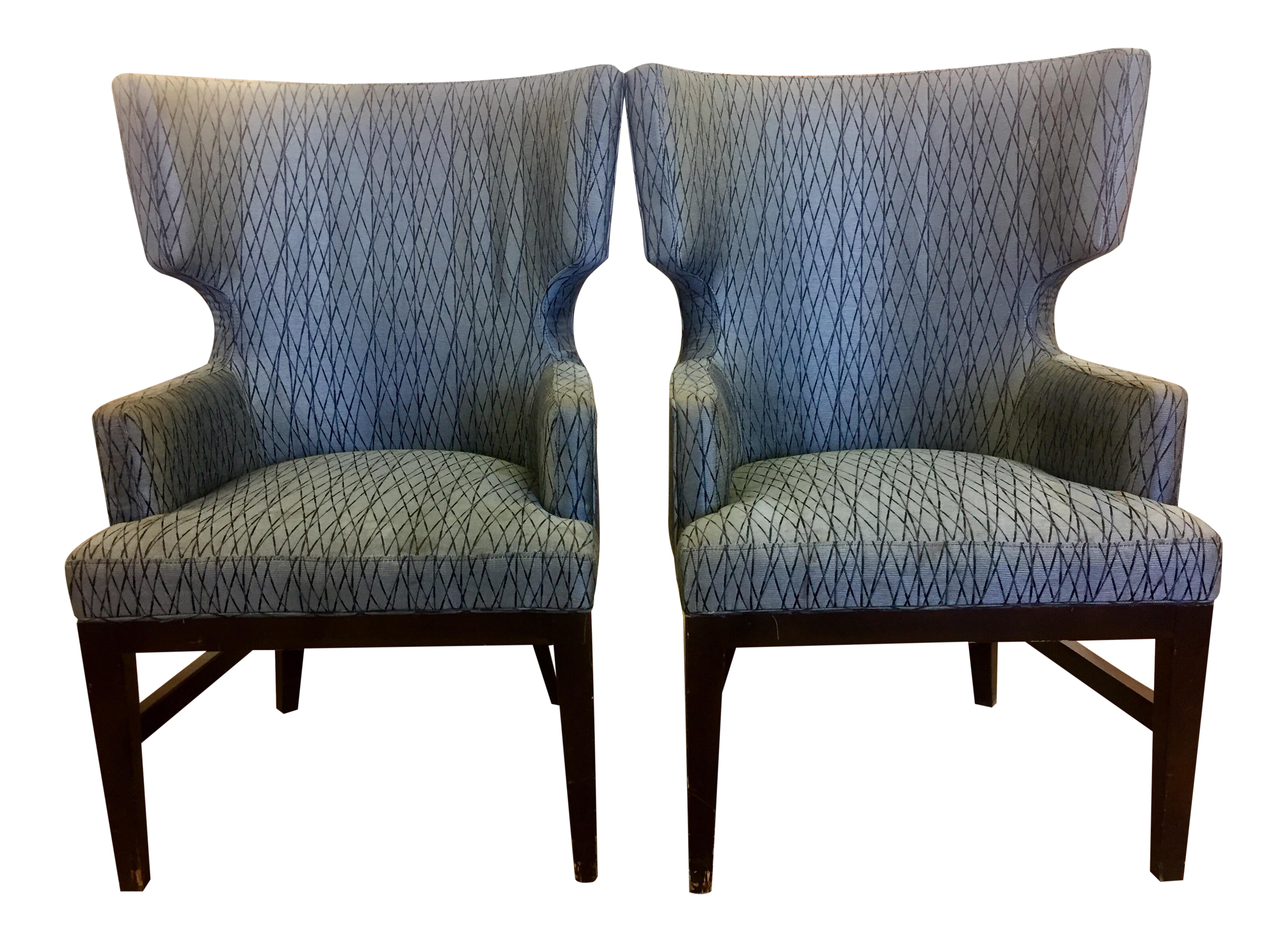 Contemporary queen anne wingback chairs a pair chairish for Modern queen anne furniture