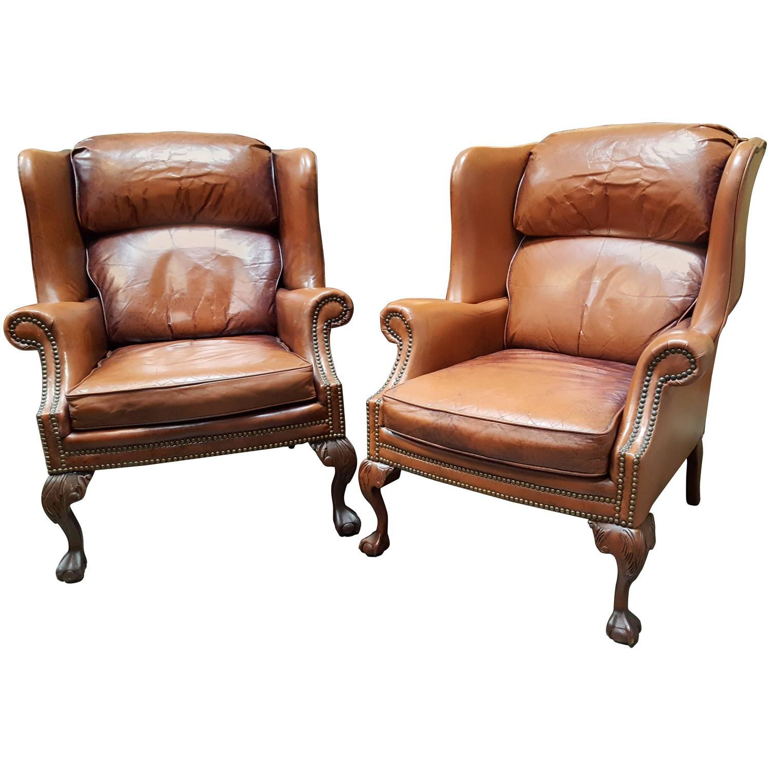 Schafer Brothers Leather Wing Chairs Pair