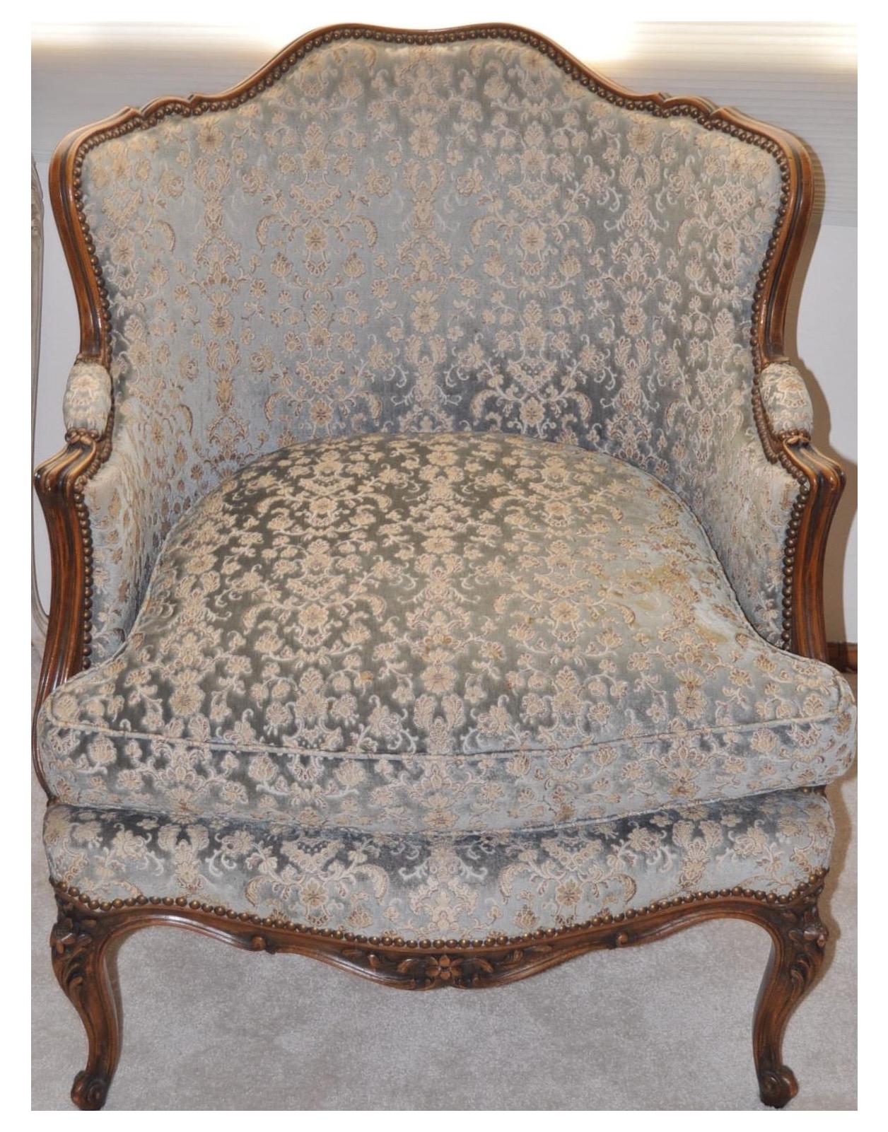 French Louis Xv Style Walnut Bergere Chair 1920 Chairish