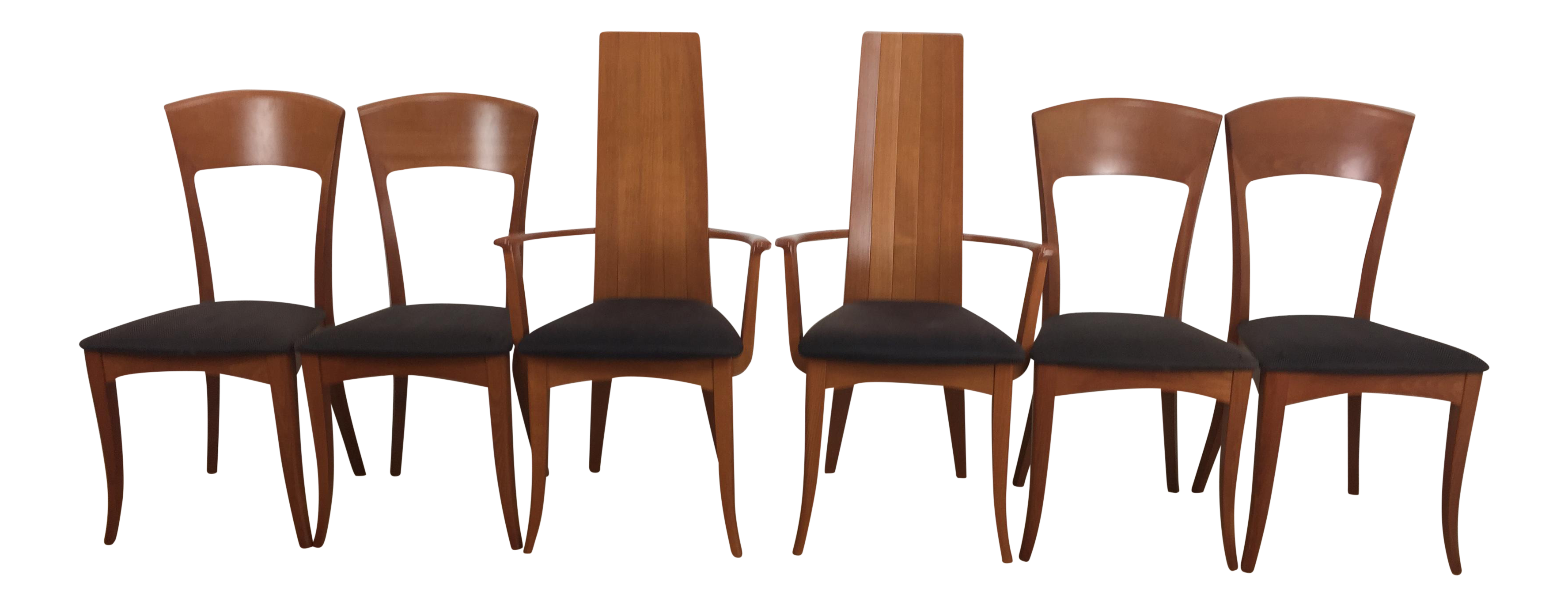 A Sibau Italian Mid Century Modern Dining Chairs Set of 6