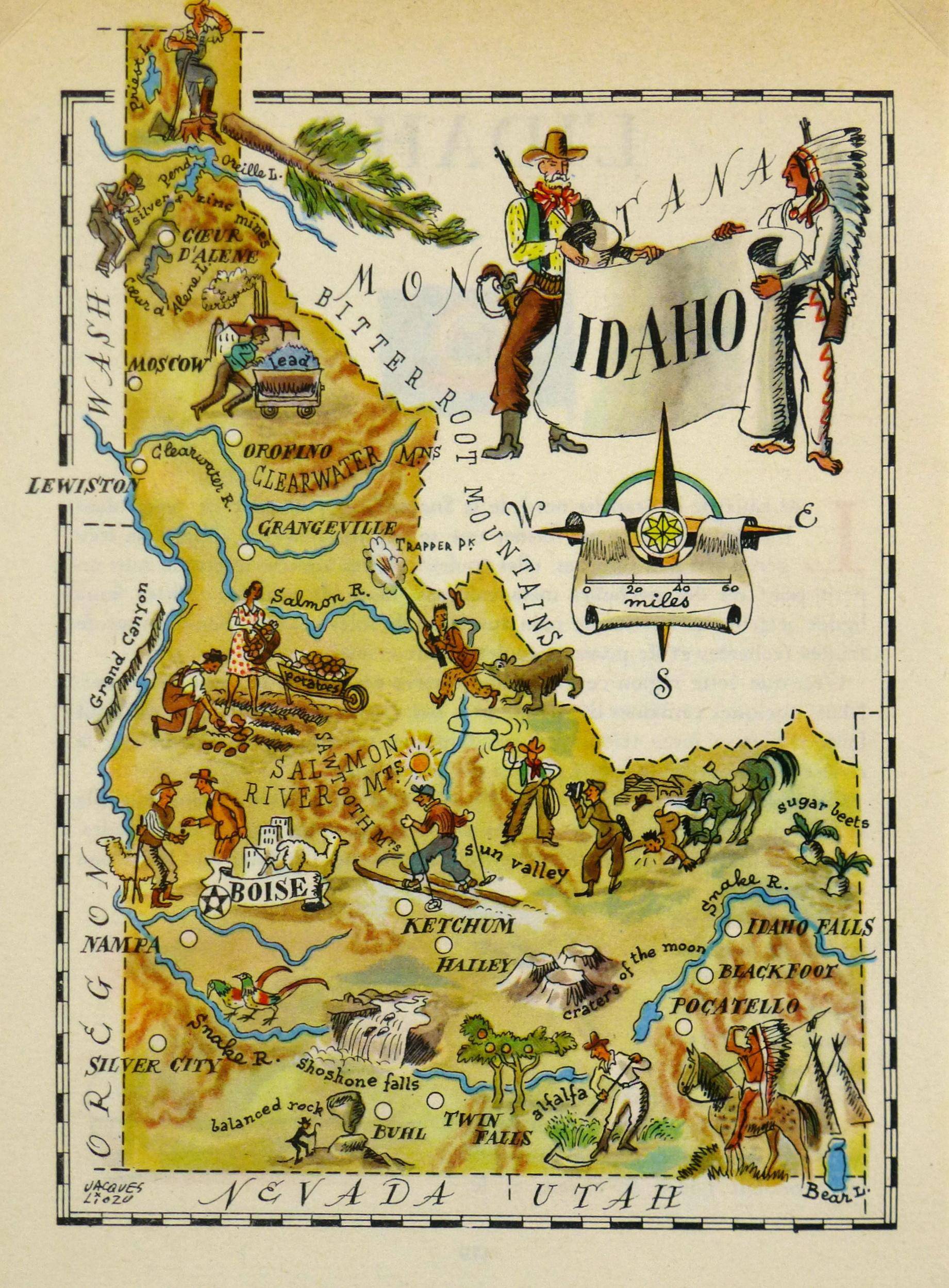 vintage idaho pictorial map 1946 chairish