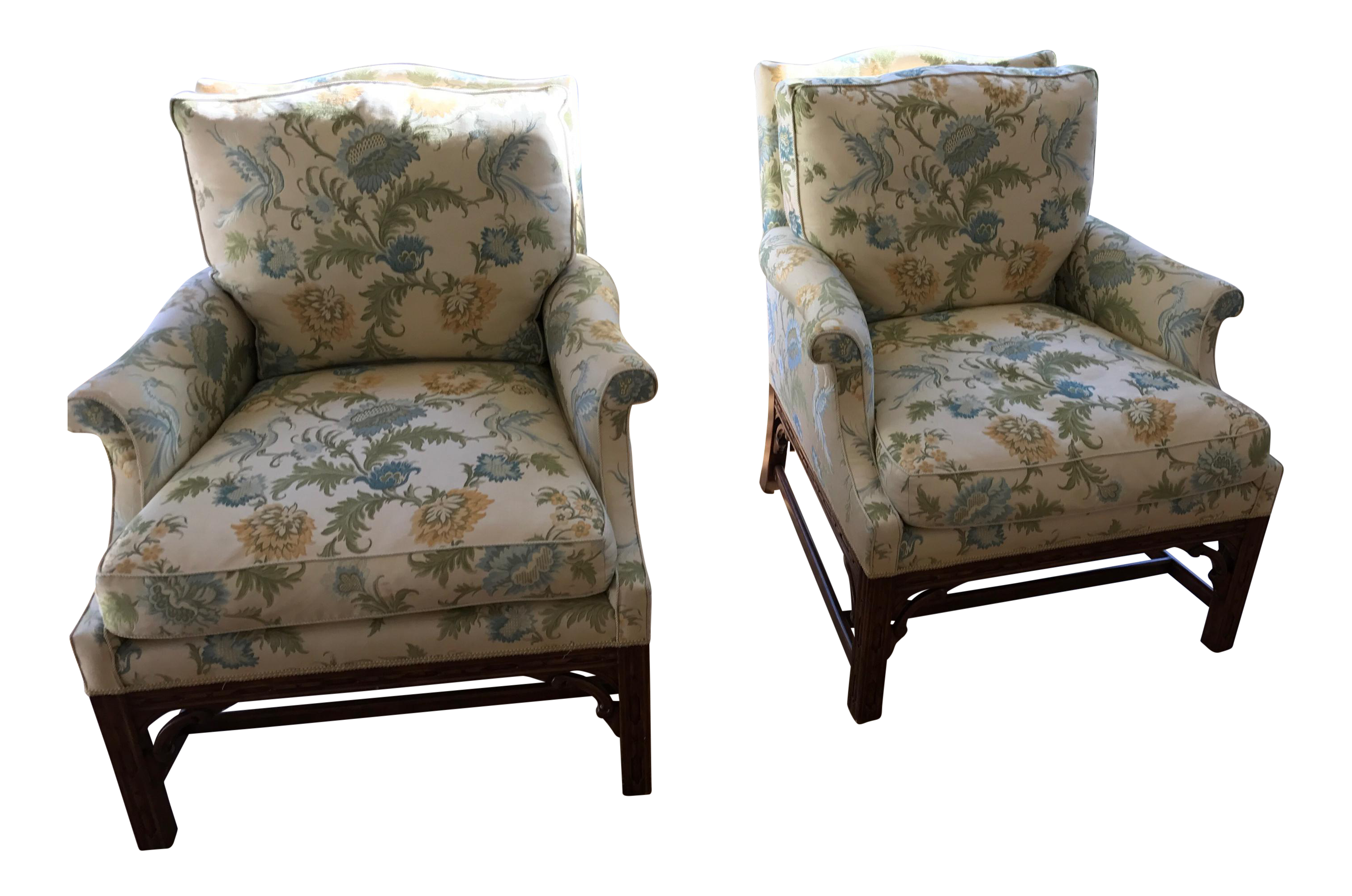 Minton Spidell Chinese Chippendale Lounge Chairs A Pair