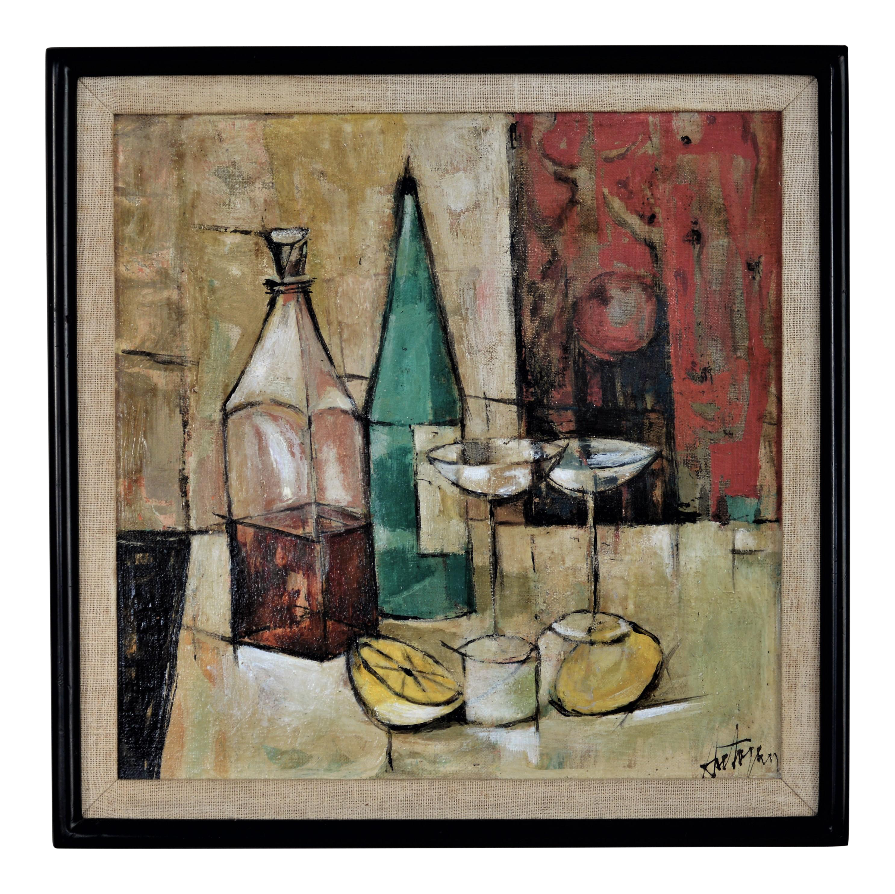 1950s Mid Century Modern Cubist Oil Painting By Kero S