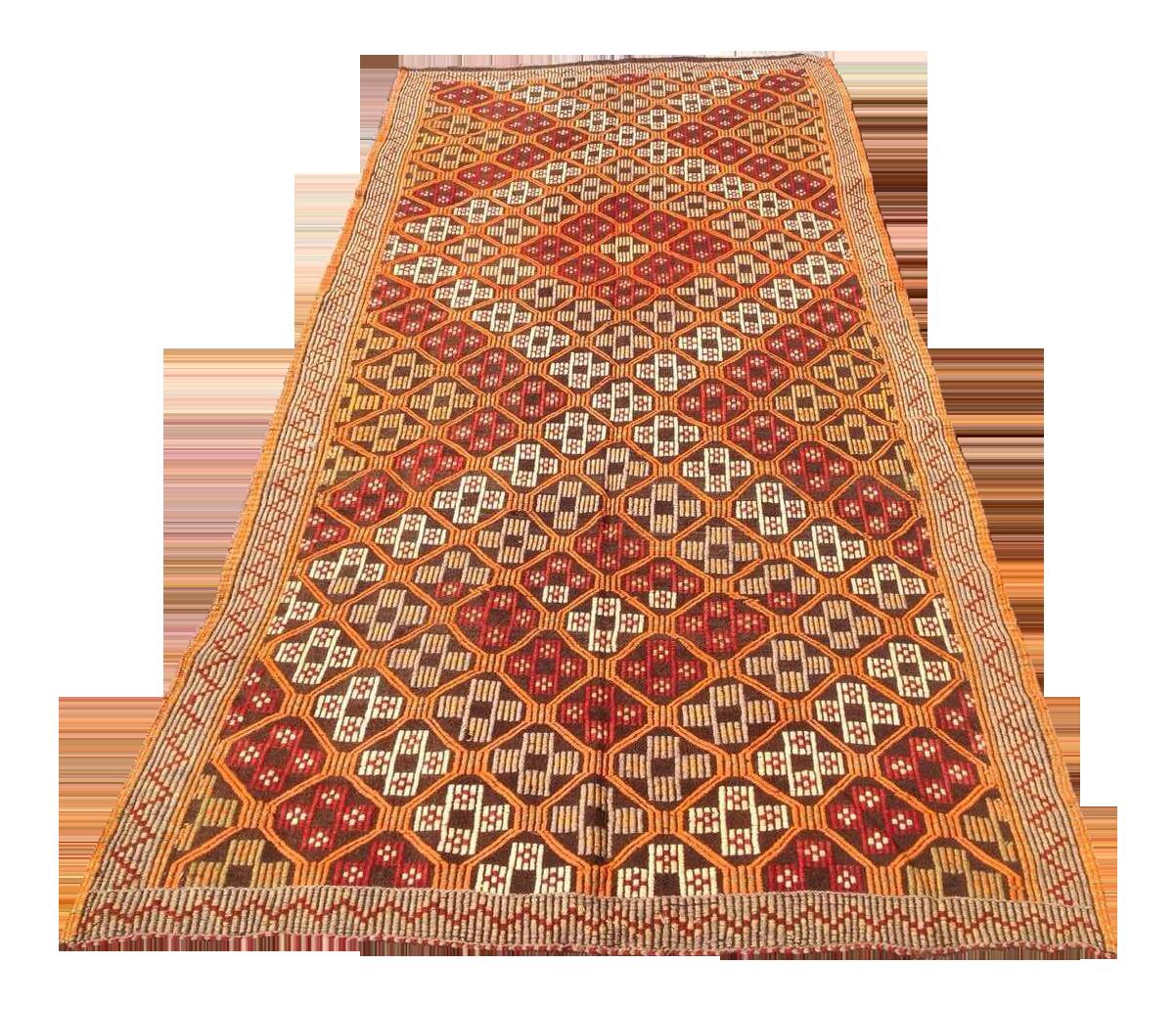 Vintage Turkish Kilim Rug 4 7 215 10 4 Chairish