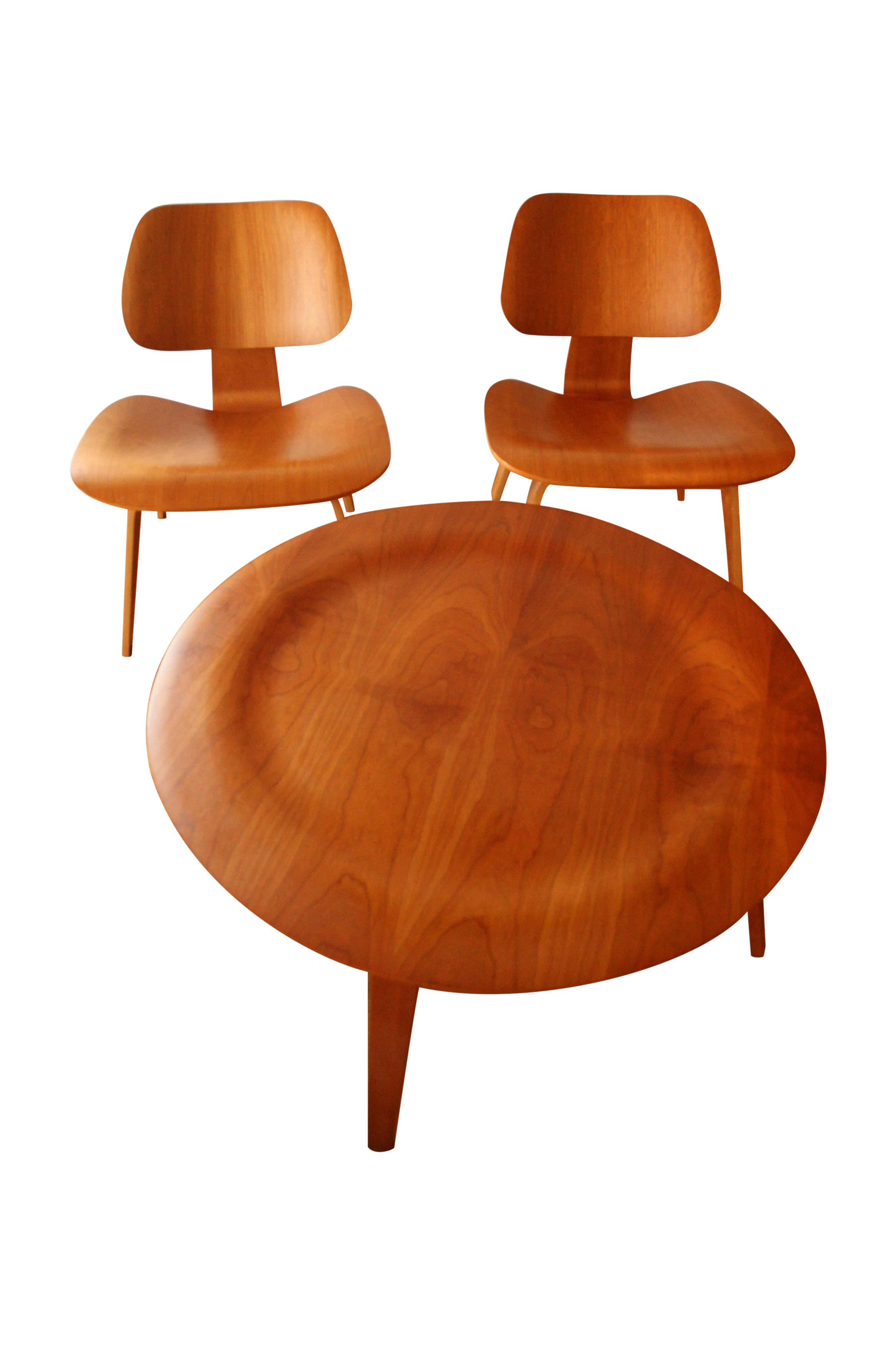 Eames Molded Plywood Table & 2 Lounge Chairs