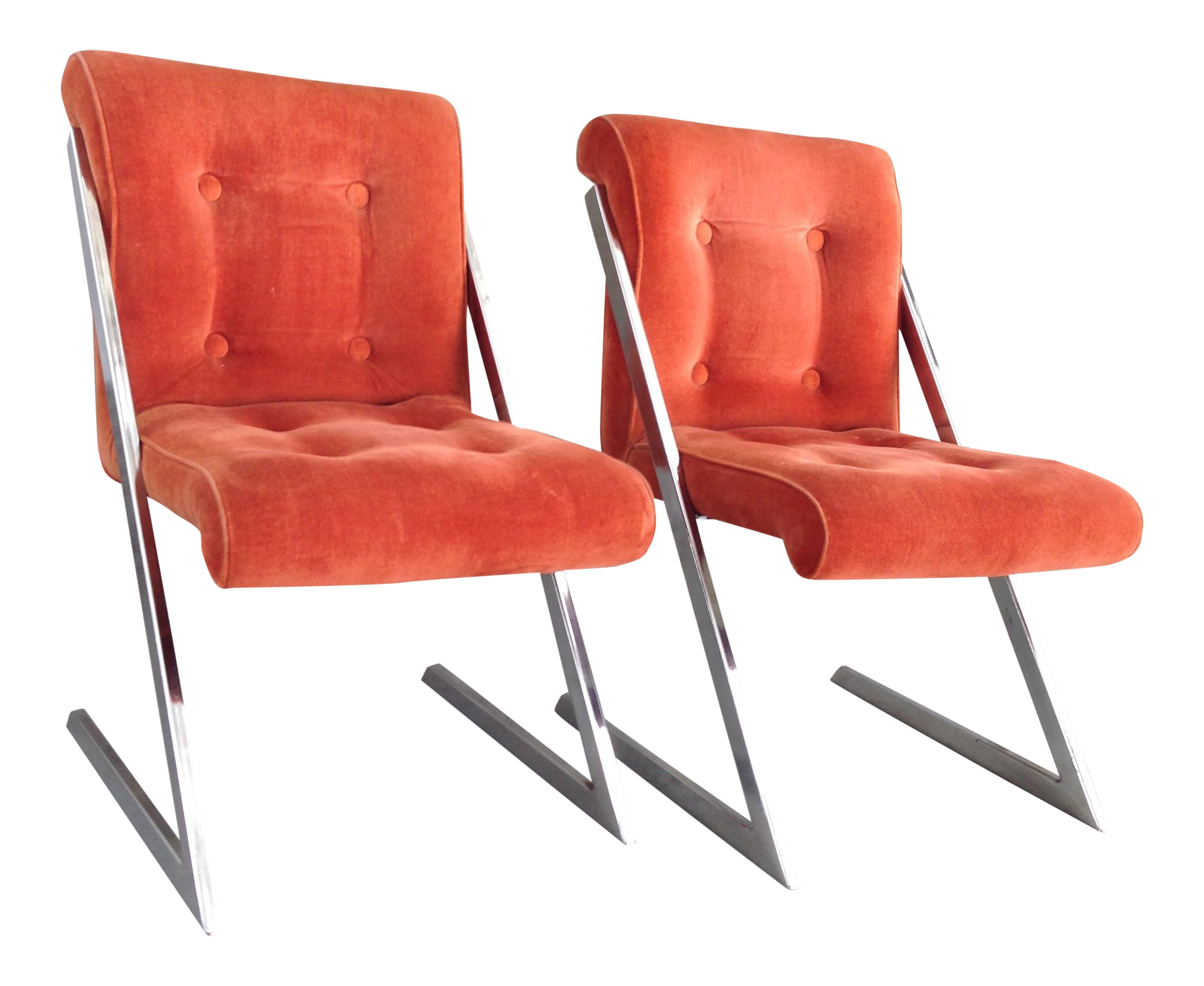 Milo baughman z shaped dining chairs pair chairish for Z shaped dining chair