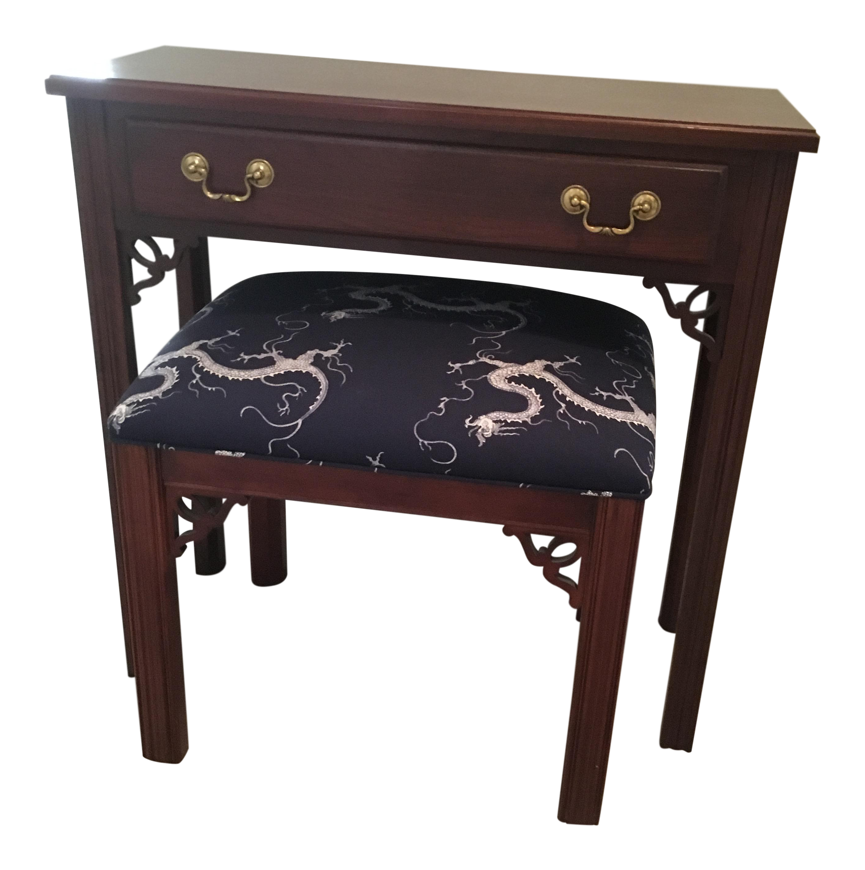 petite console table with upholstered bench chairish. Black Bedroom Furniture Sets. Home Design Ideas