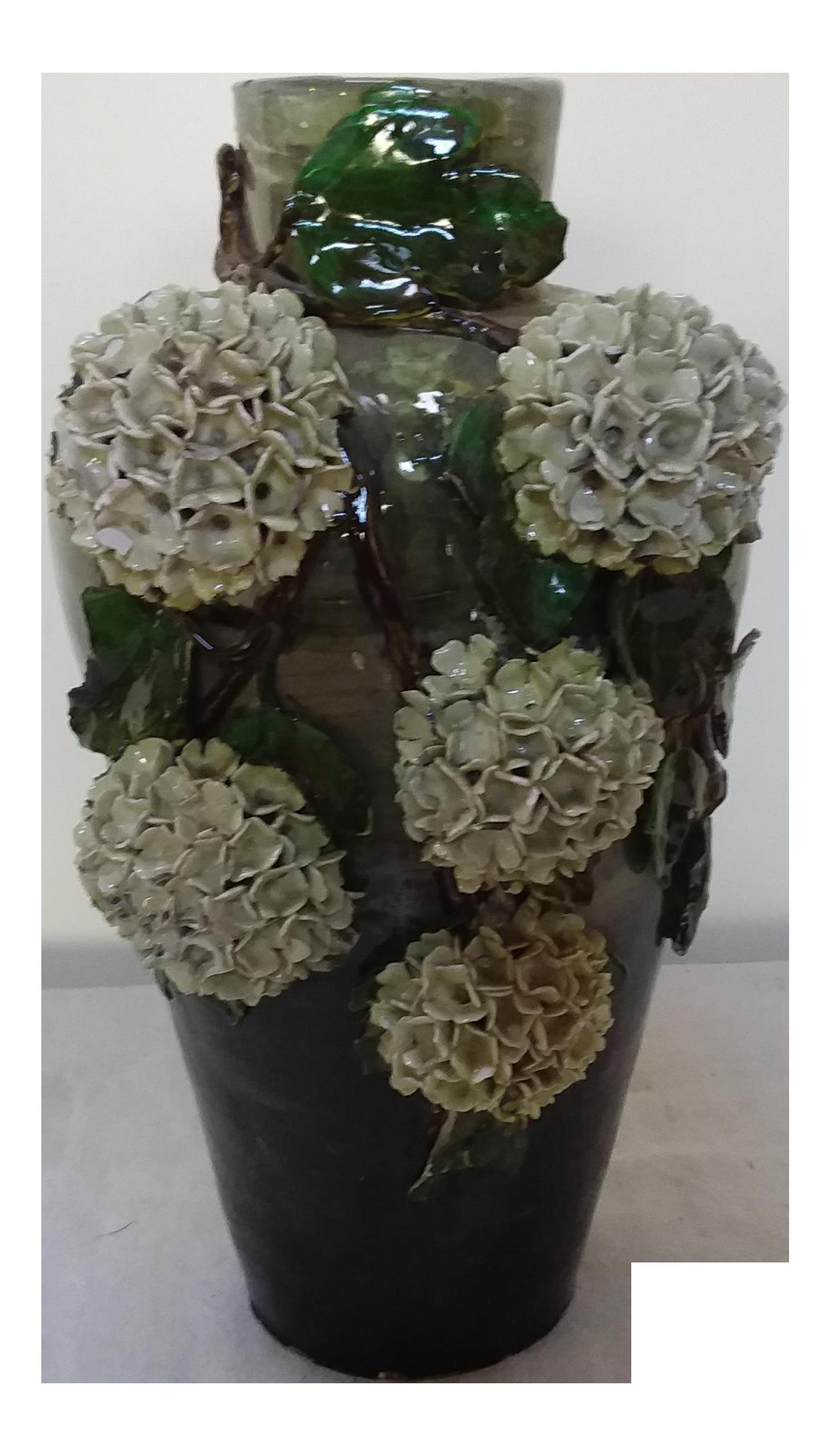Signed French Barbotine Majolica Vase Chairish