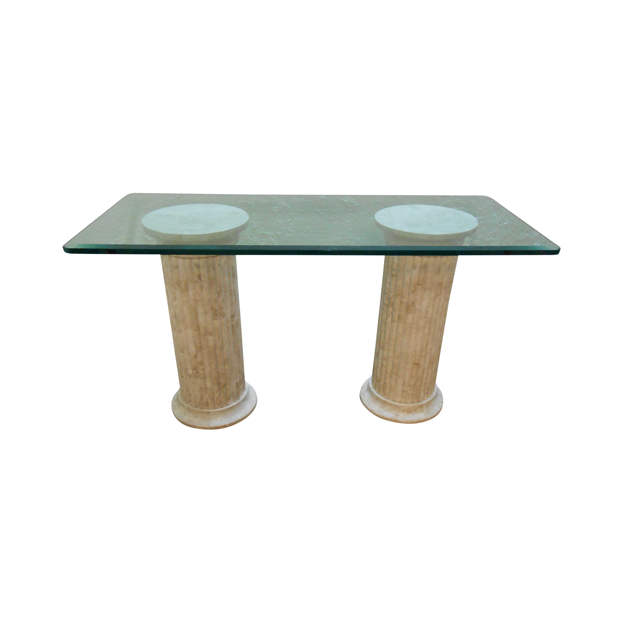 Maitland Smith Tessellated Stone Greek Column Desk