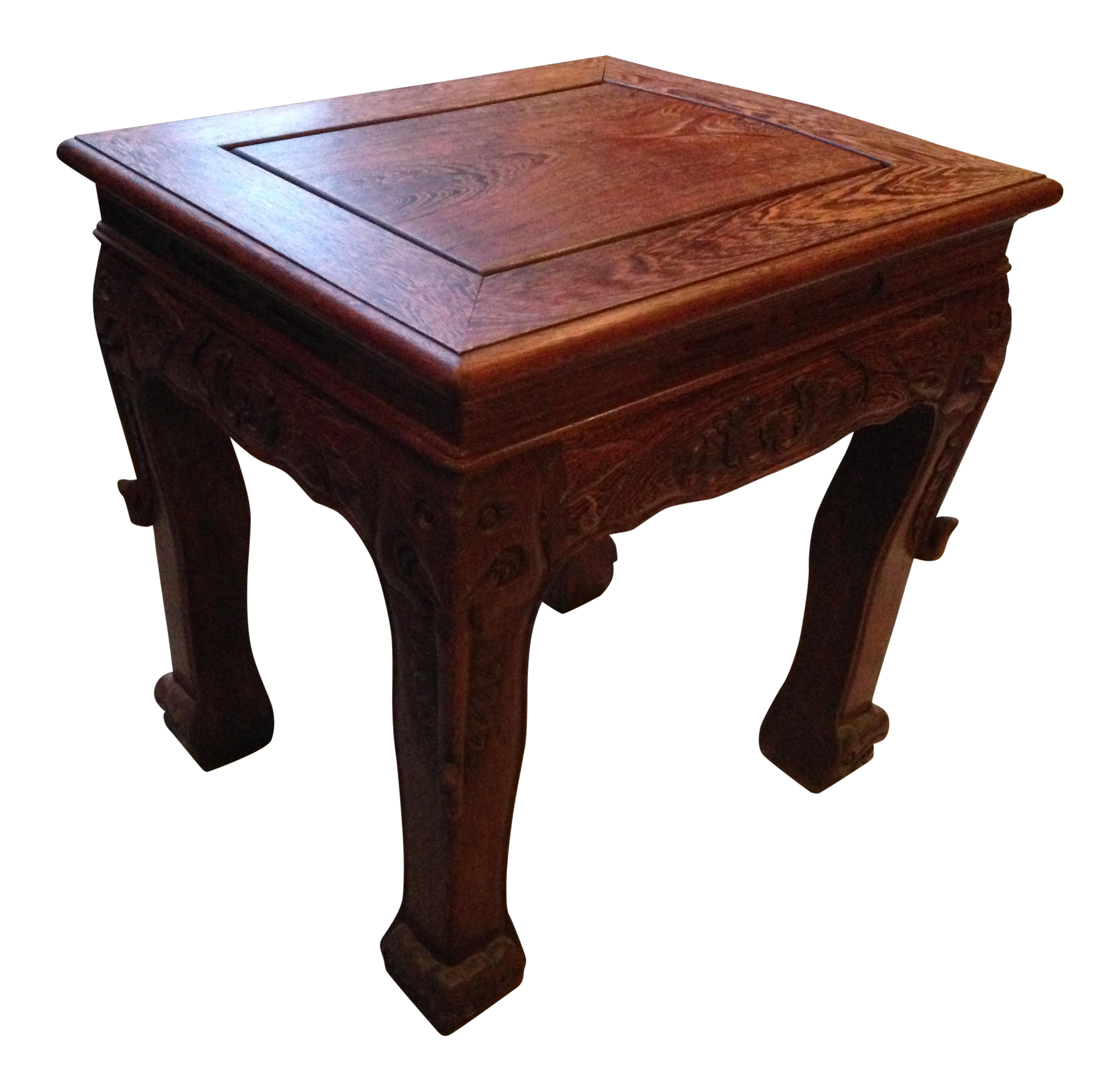 Chinese Wood Table ~ Chinese wood carved side table chairish