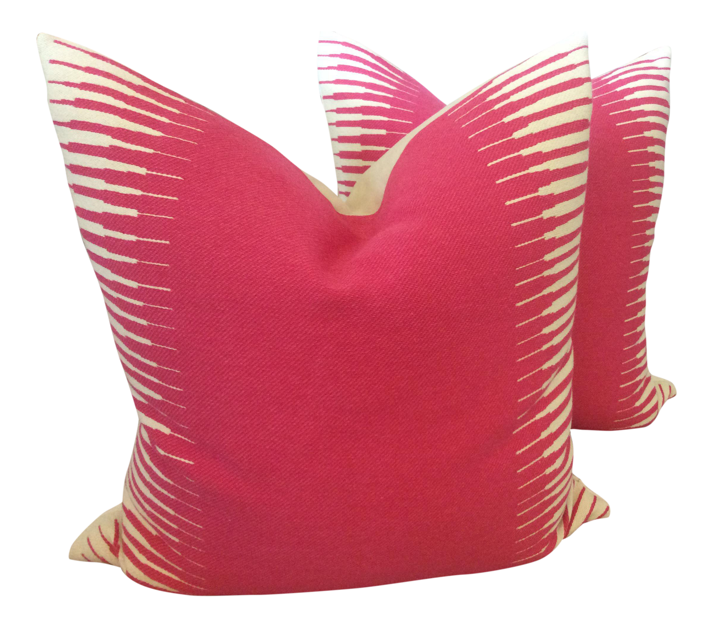 manuel canovas kazan in rose indien down filled pillows  a pair. vintage  used pink pillows  chairish