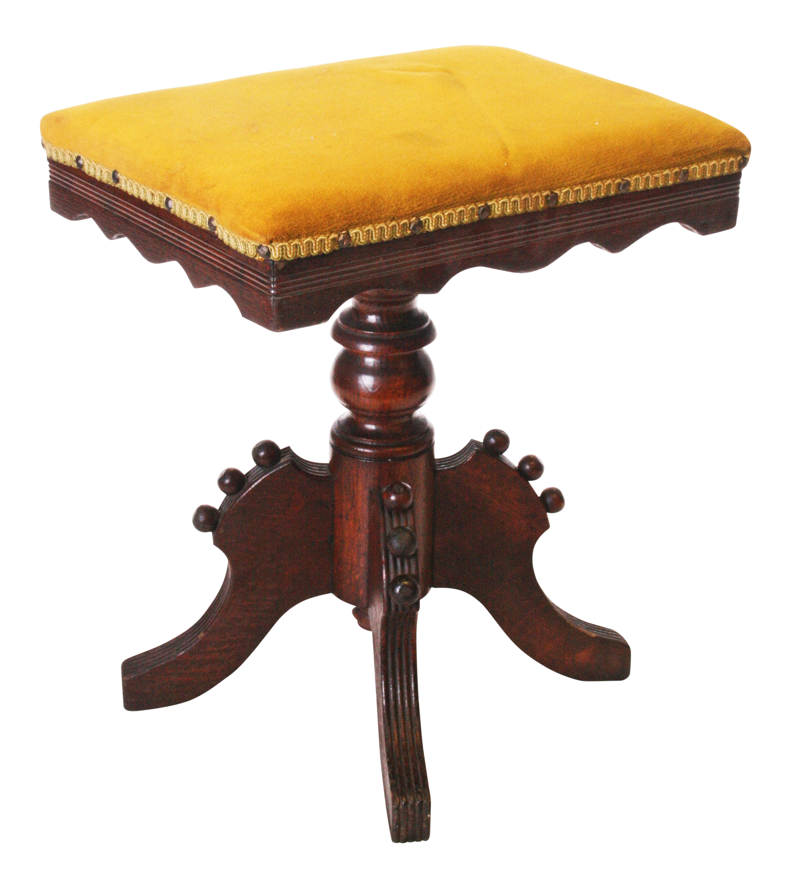 Antique Victorian Carved Wood Adjustable Piano Stool