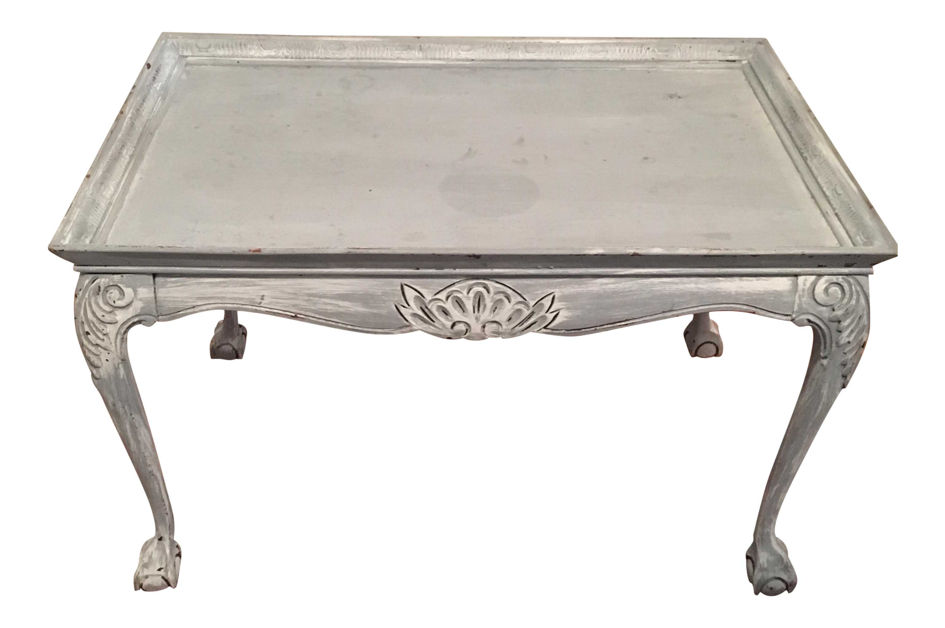Light blue distressed clawfoot wooden coffee table chairish geotapseo Gallery