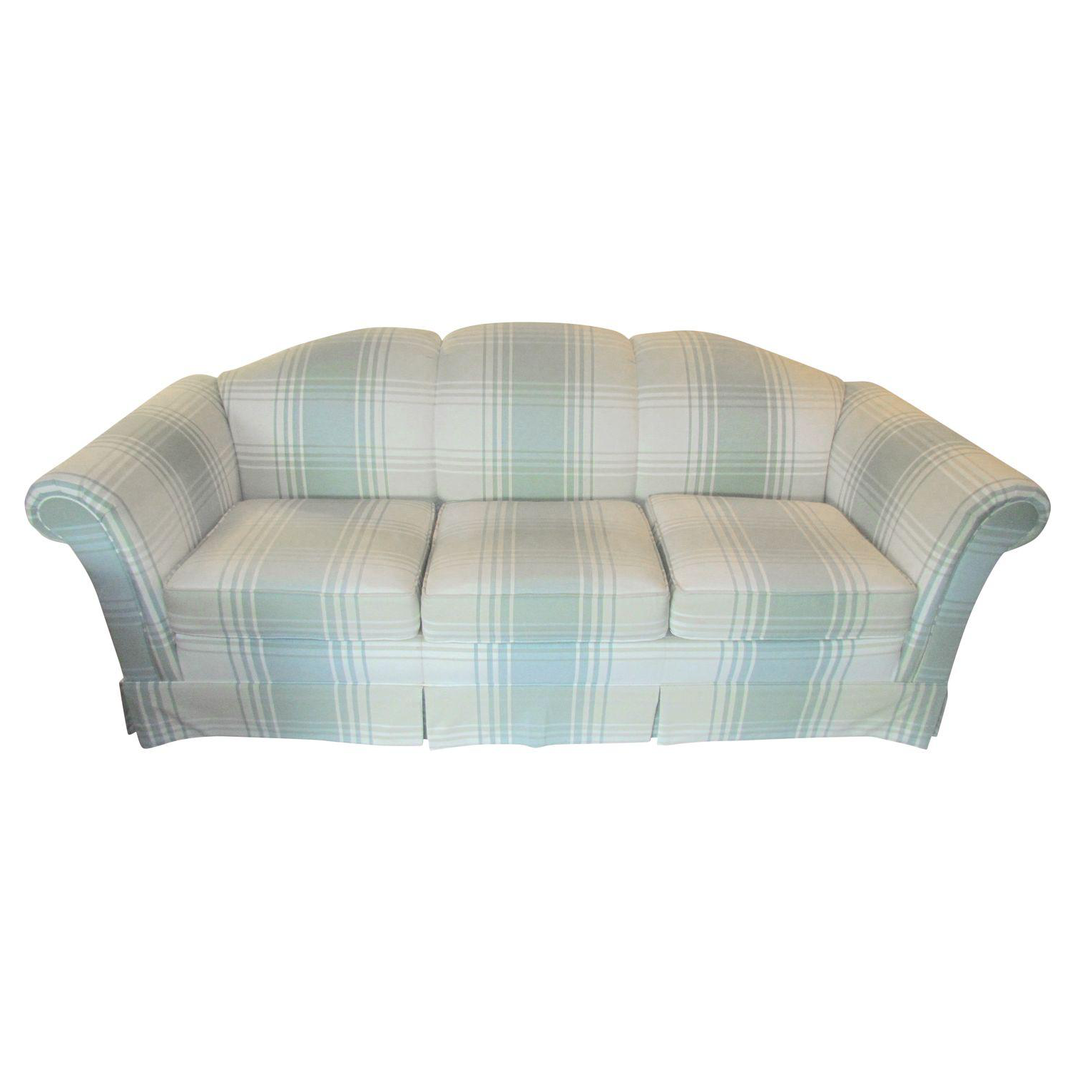 Clayton Marcus Plaid Sofa With Slipcover Chairish
