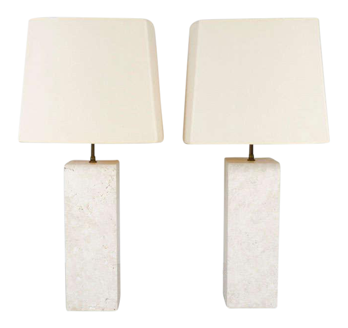 Incredible Substantial Travertine Square Column Table Lamps   A Pair |  DECASO