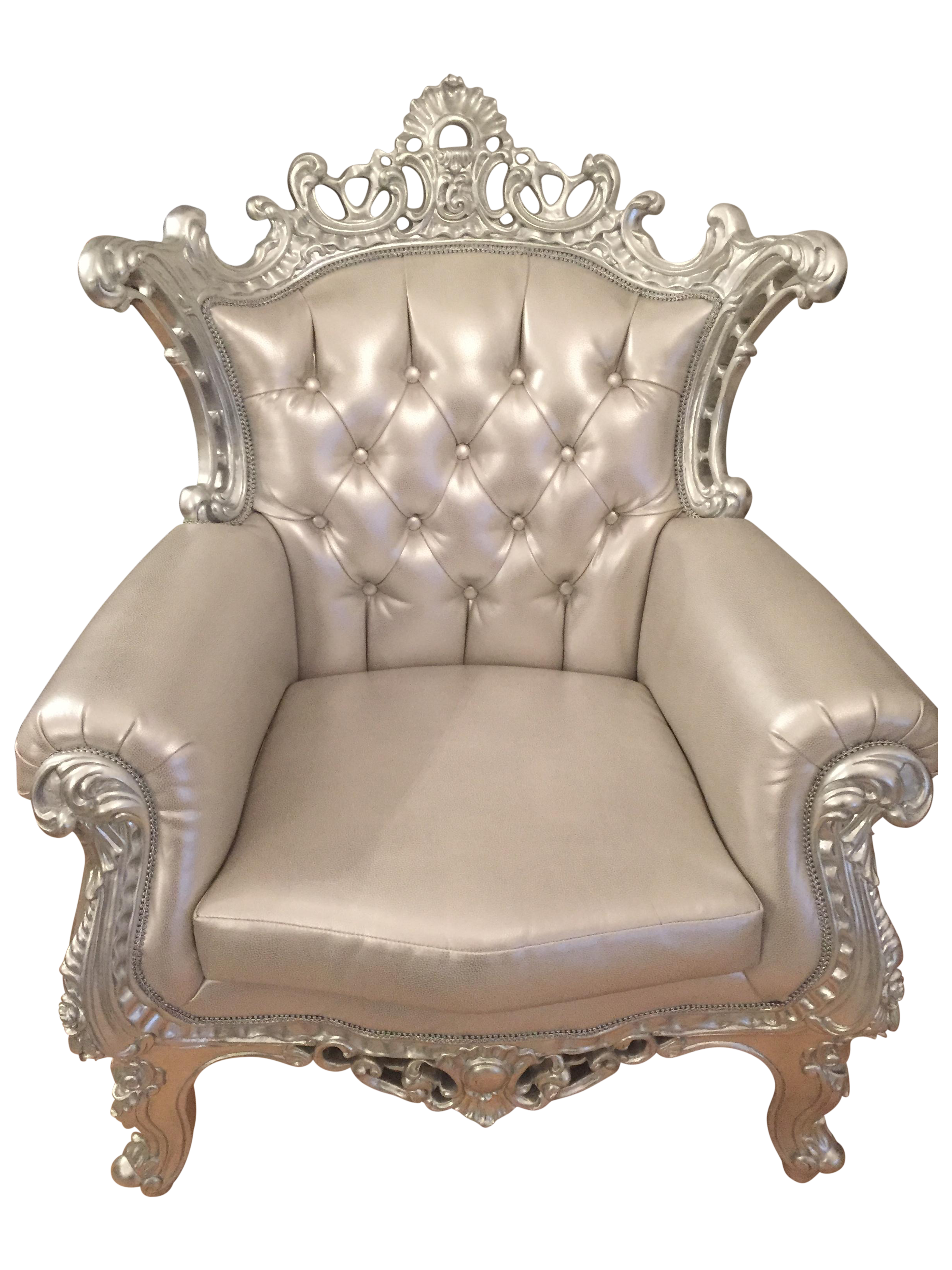 Baroque Style Silver Tufted Accent Throne Chair Chairish