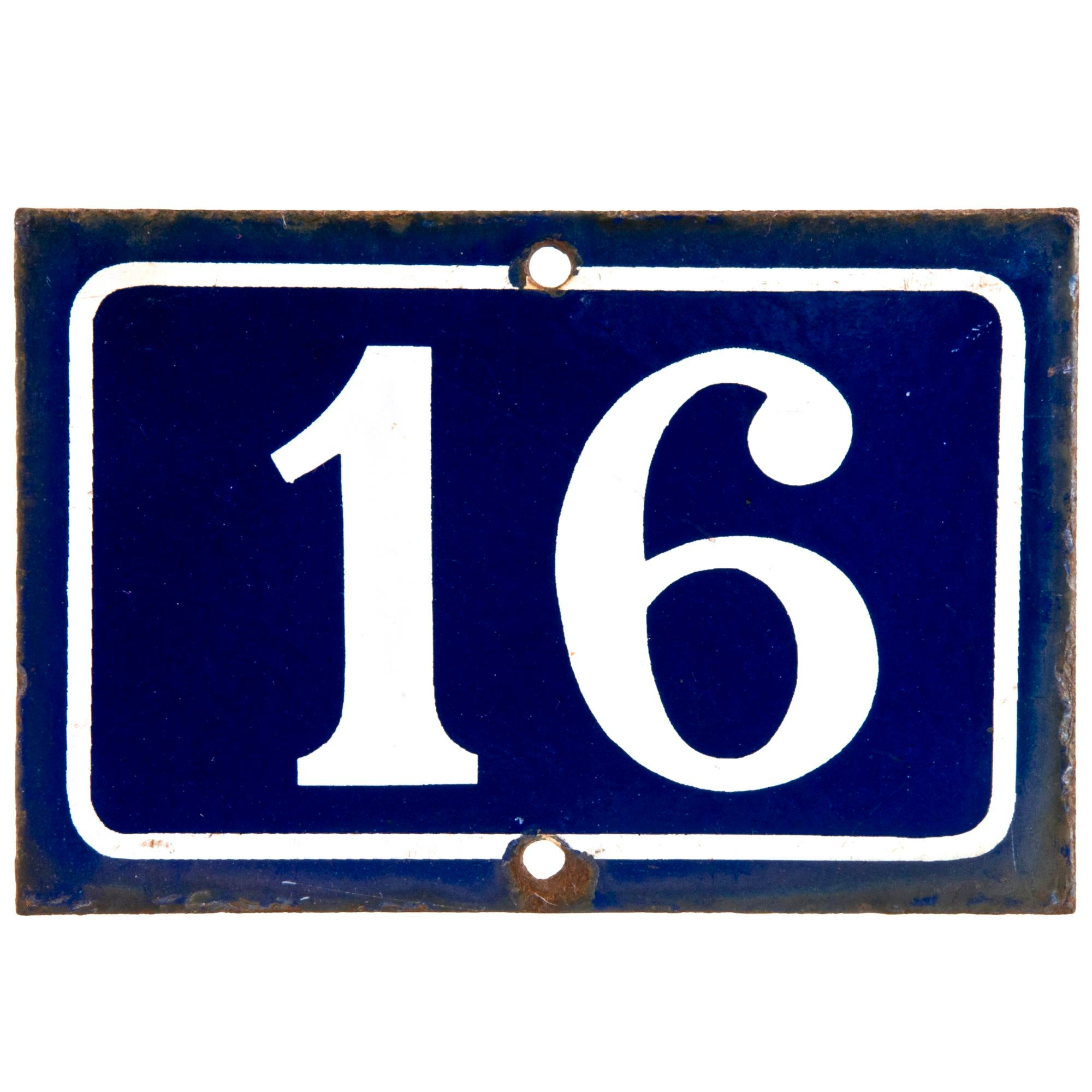 French enamel number 16 house sign chairish for Number 16 house