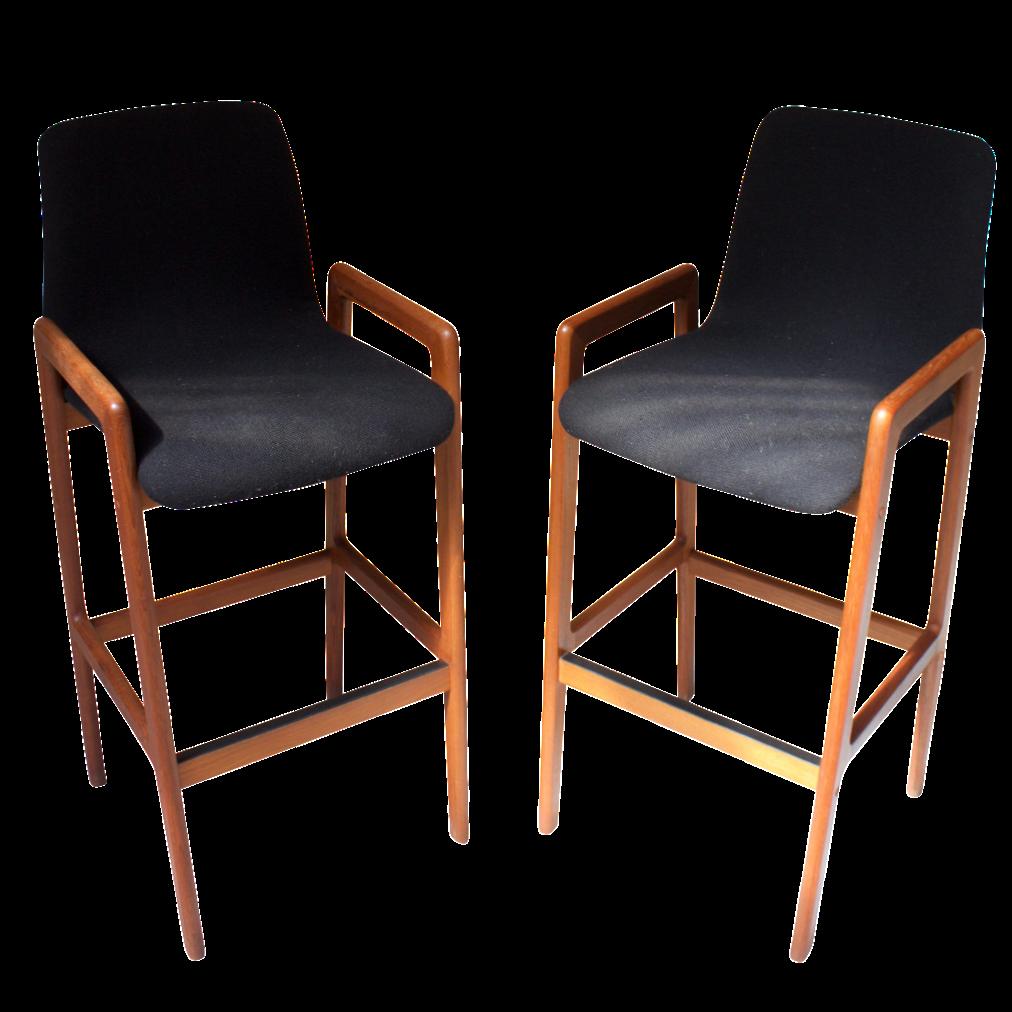 Danish Counter Seat: Tarm Stole Danish Modern Teak Bar Stools - A Pair