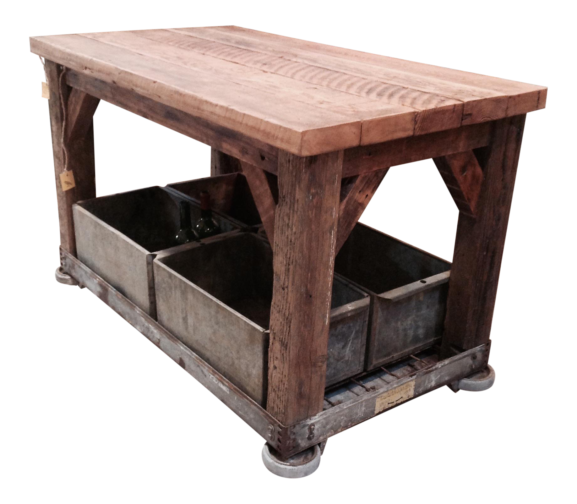 Rolling Coffee Table With Storage: Rolling Industrial Table With Storage Bins