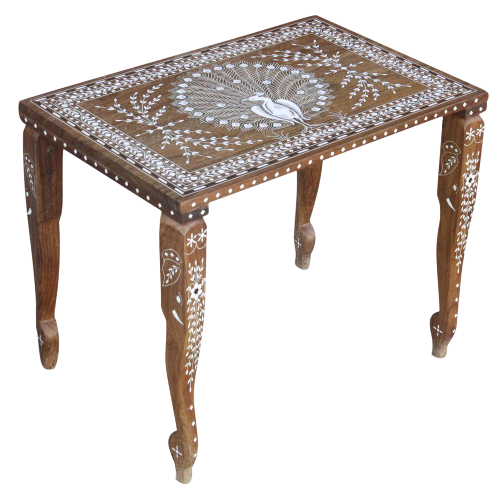 Vintage peacock inlay coffee table chairish for Peacock coffee table