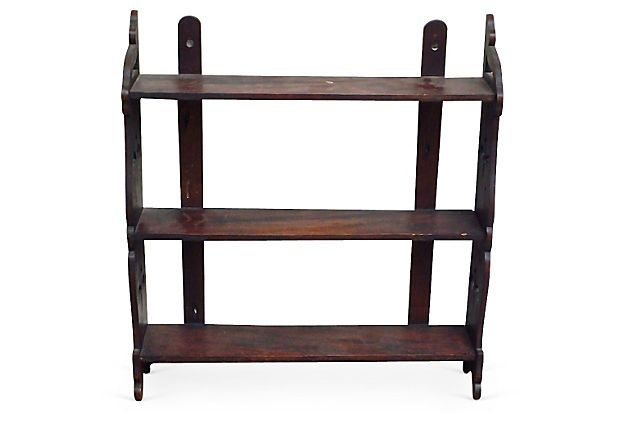 antique english fleur de lis wall etagere chairish. Black Bedroom Furniture Sets. Home Design Ideas